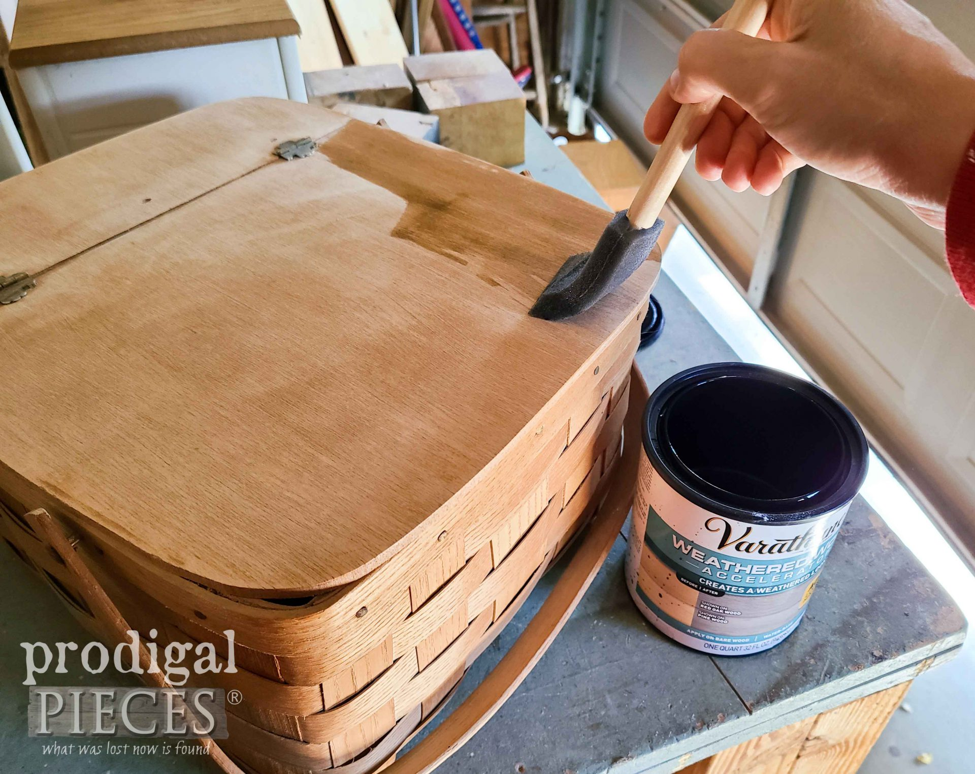 Staining Upcycled Picnic Baskets with Aged Wood Reactive Stain by Larissa of Prodigal Pieces | prodigalpieces.com