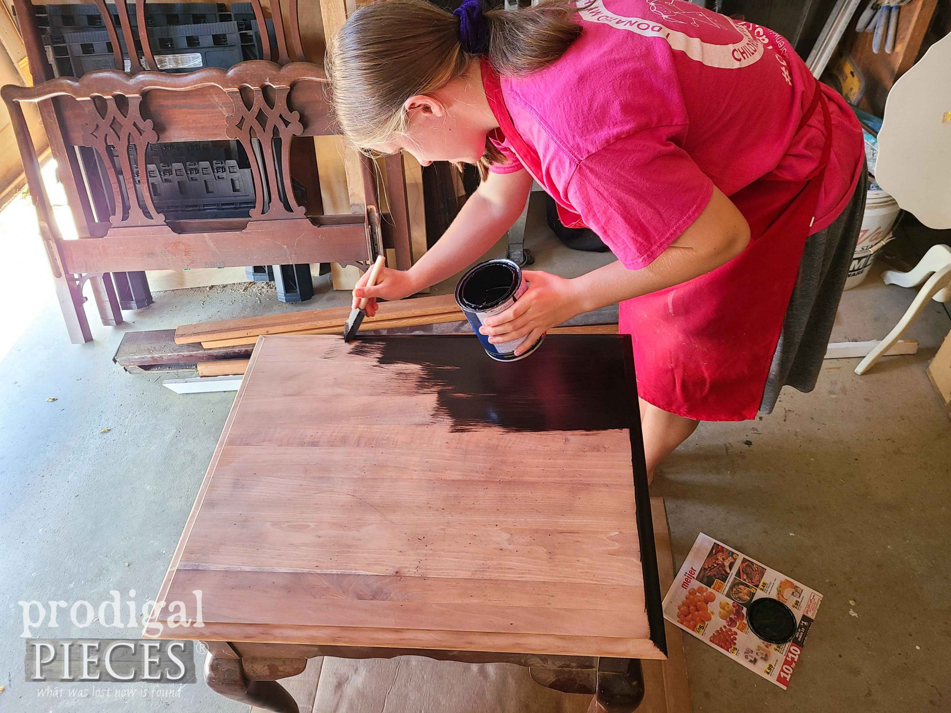 Staining Vintage Queen Anne Table Top | prodigalpieces.com