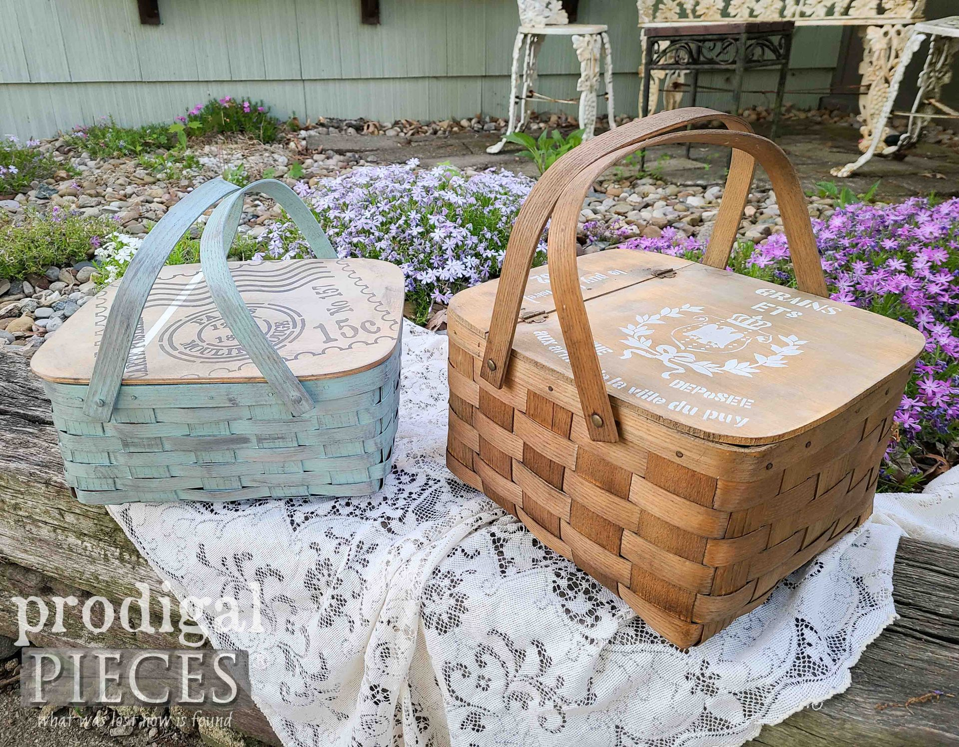 Summer Time Picnic with Vintage Upcycled Baskets by Prodigal Pieces | prodigalpieces.com #prodigalpieces #summer #picnic #basket