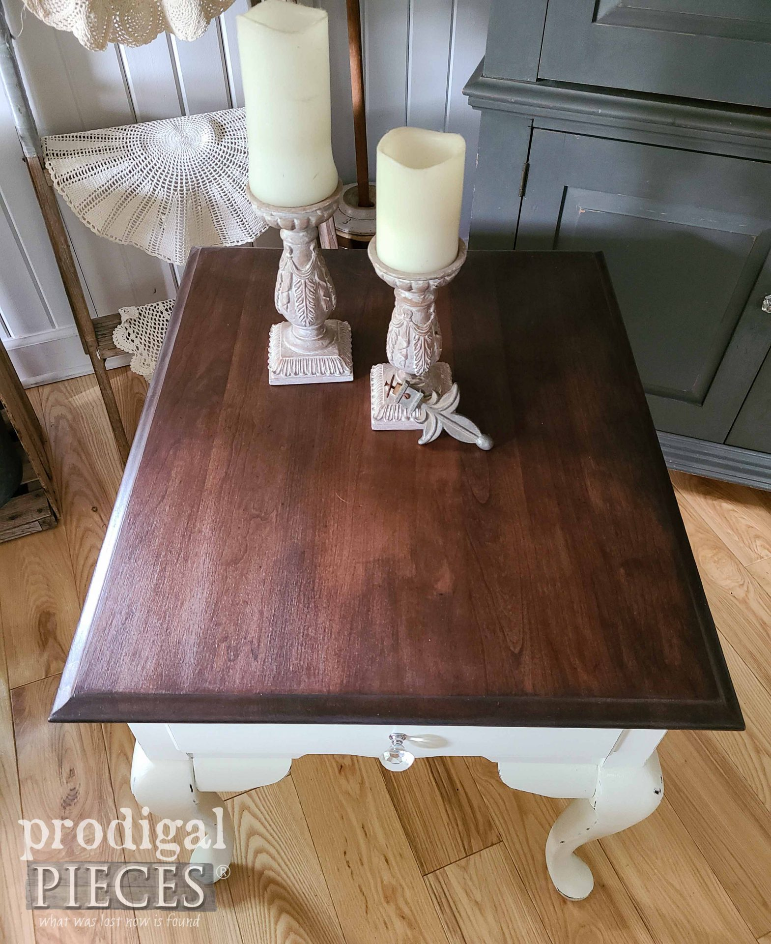 Vintage Queen Anne Table Top Refinished with Java Gel by Prodigal Pieces | prodigalpieces.com #prodigalpieces #furniture #home #diy