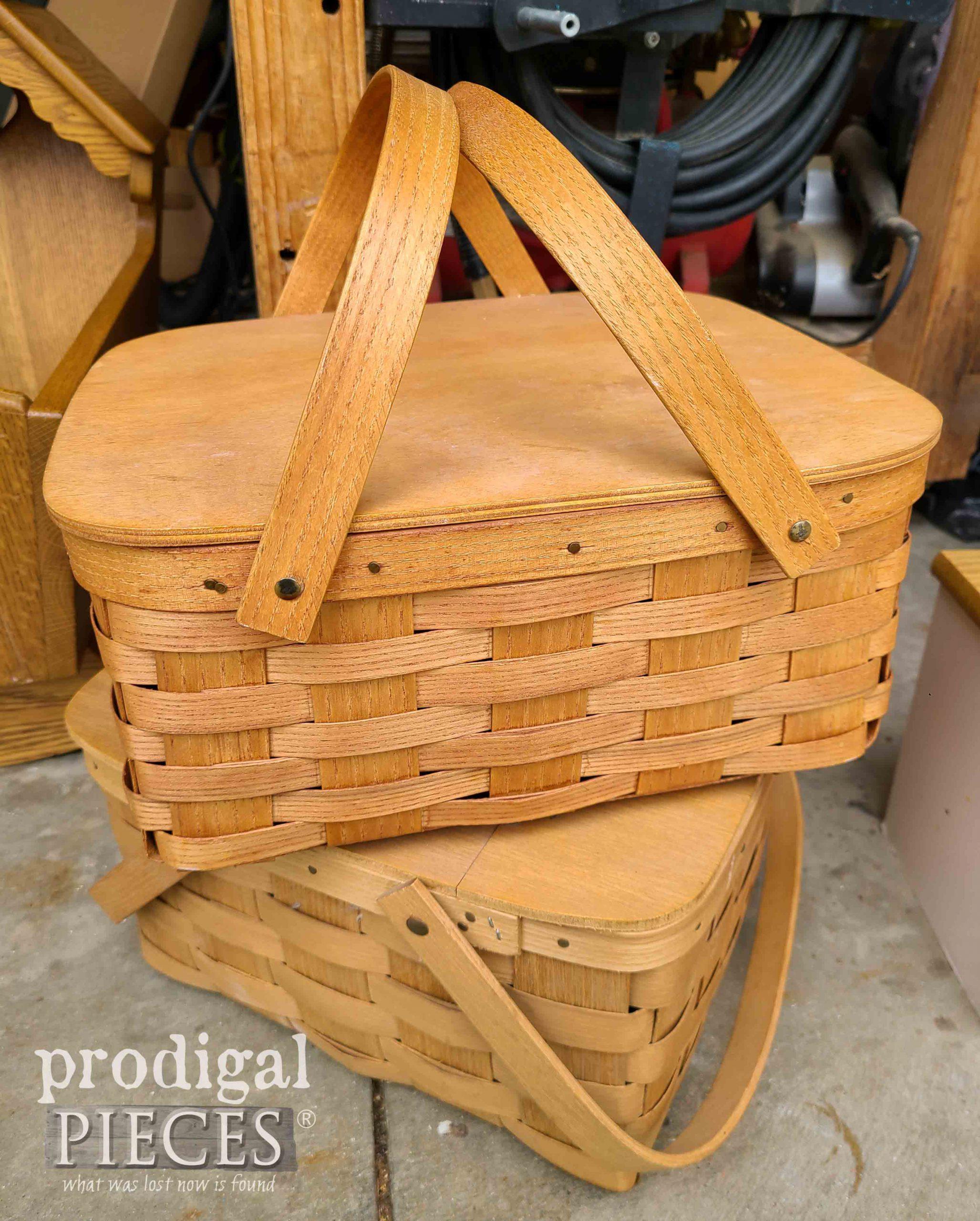 Thrifted Picnic Baskets Before | Prodigal Pieces | prodigalpieces.com