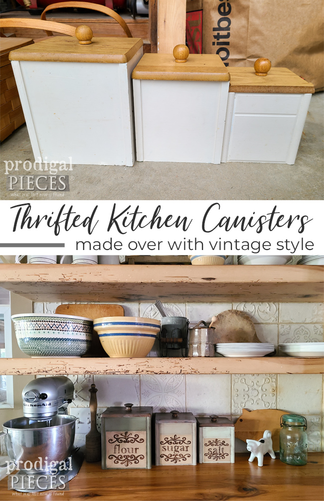 These thrifted kitchen canisters are just primed for a makeover. See the DIY tutorial by Larissa of Prodigal Pieces | prodigalpieces.com #prodigalpieces #farmhouse #kitchen #home #homedecor
