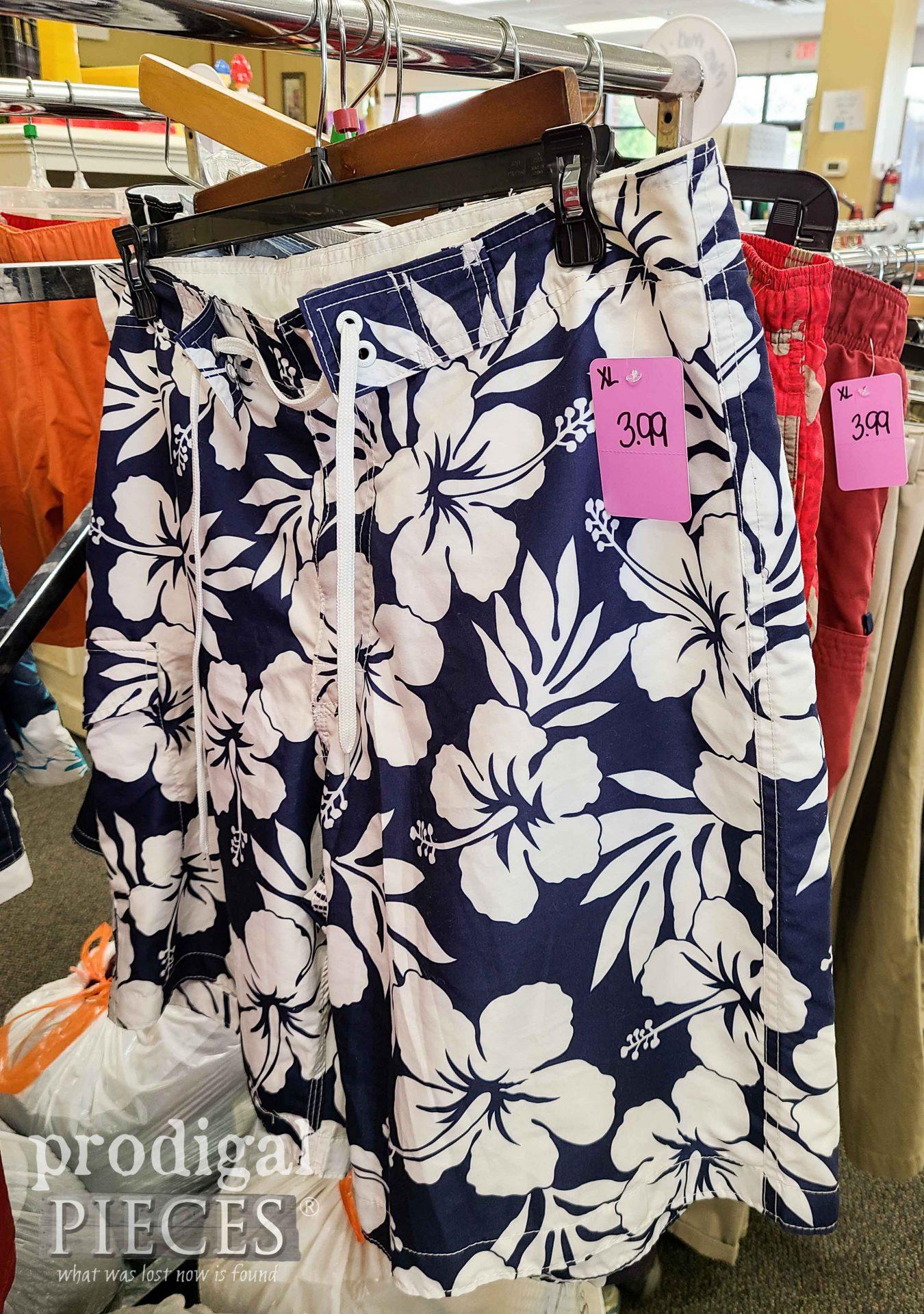 Thrift Store Swim Trunks Before Refashion   prodigalpieces.com