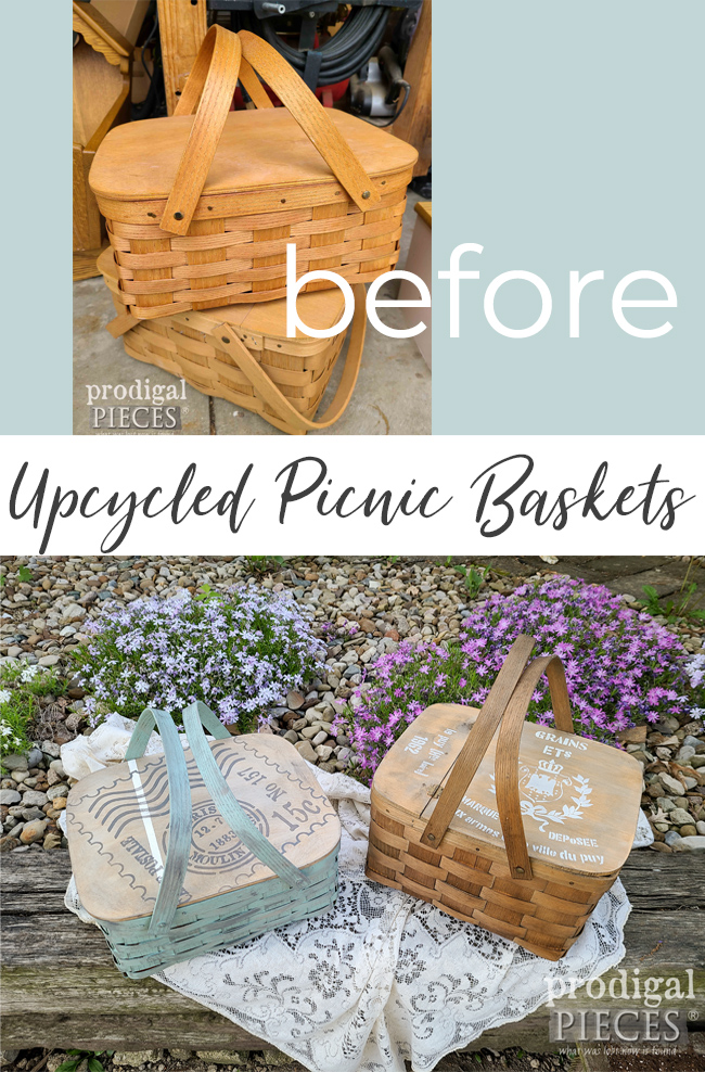 Dynamic Duo! These two vintage baskets are ready for a makeover. Upcycled Picnic Basket are fun. Come see at Prodigal Pieces | prodigalpieces.com #prodigalpieces #farmhouse #picnic #basket #home