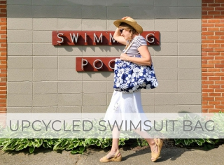 DIY Upcycled Swimsuit Bag from Mens Swim Trunks by Larissa of Prodigal Pieces | prodigalpieces.com #prodigalpieces
