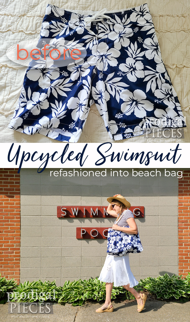 Grab Dad's swim trunks and make an upcycled swimsuit bag with insulated lining. Details by Larissa of Prodigal Pieces at prodigalpieces.com #prodigalpieces #swimming #diy #home #fashion #summer #fathersday
