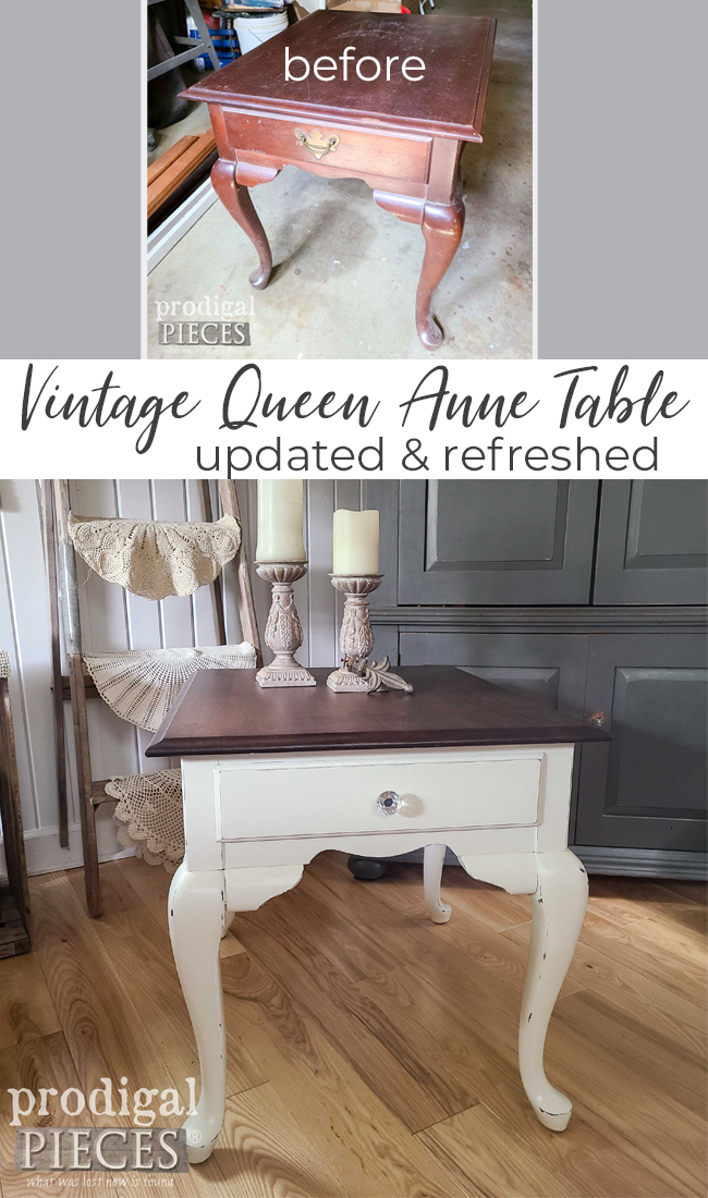 Vintage Queen Anne Table Needs a Refreshing New Look to Update It | DIY Details at Prodigal Pieces | prodigalpieces.com #prodigalpieces #furniture #home #homedecor #farmhouse #vintage