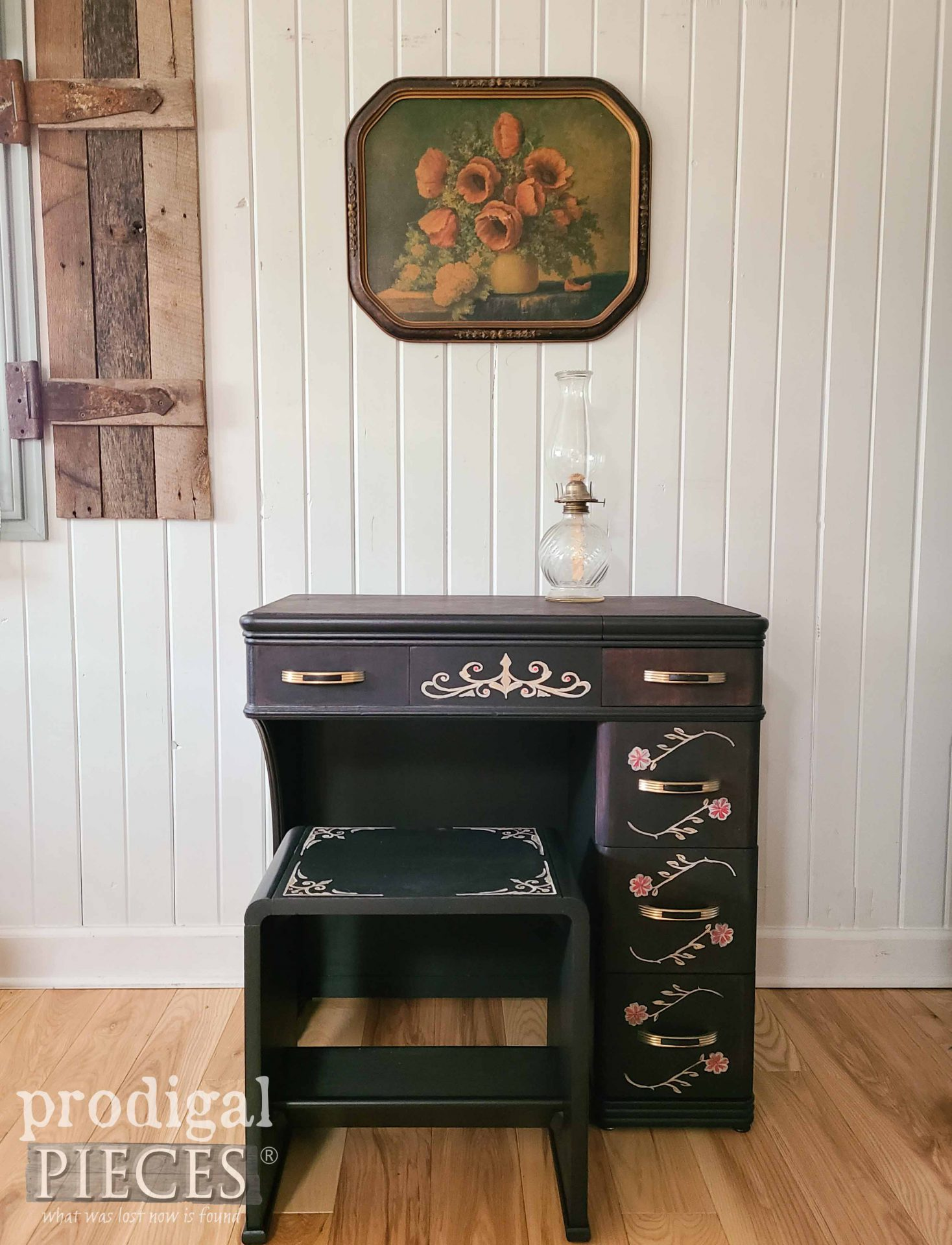 Antique Art Deco Sewing Desk Makeover by Larissa of Prodigal Pieces | prodigalpieces.com #prodigalpieces #antique #sewing #furniture #home