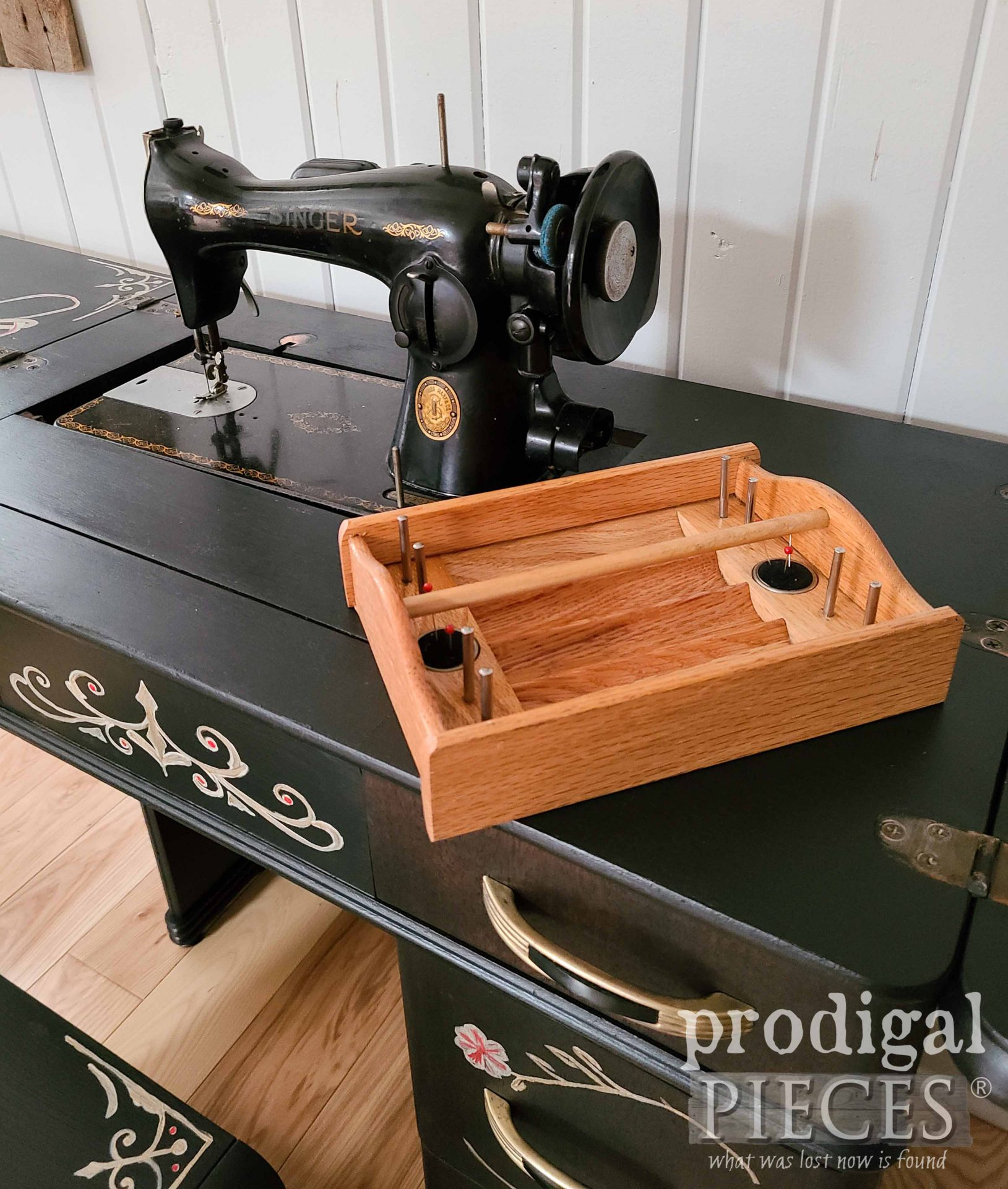Antique Sewing Notion Tote in Art Deco Sewing Desk | prodigalpieces.com #prodigalpieces #sewing #antique #home
