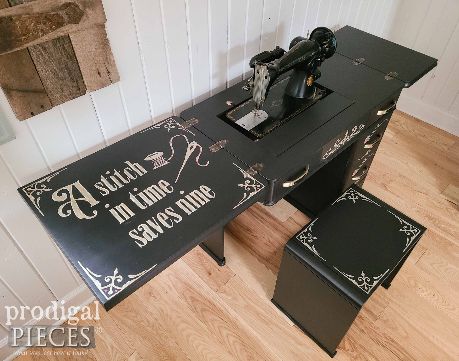 Antique Art Deco Sewing Desk with Typography by Larissa of Prodigal Pieces | prodigalpieces.com #prodigalpieces #furniture #home #homedecor
