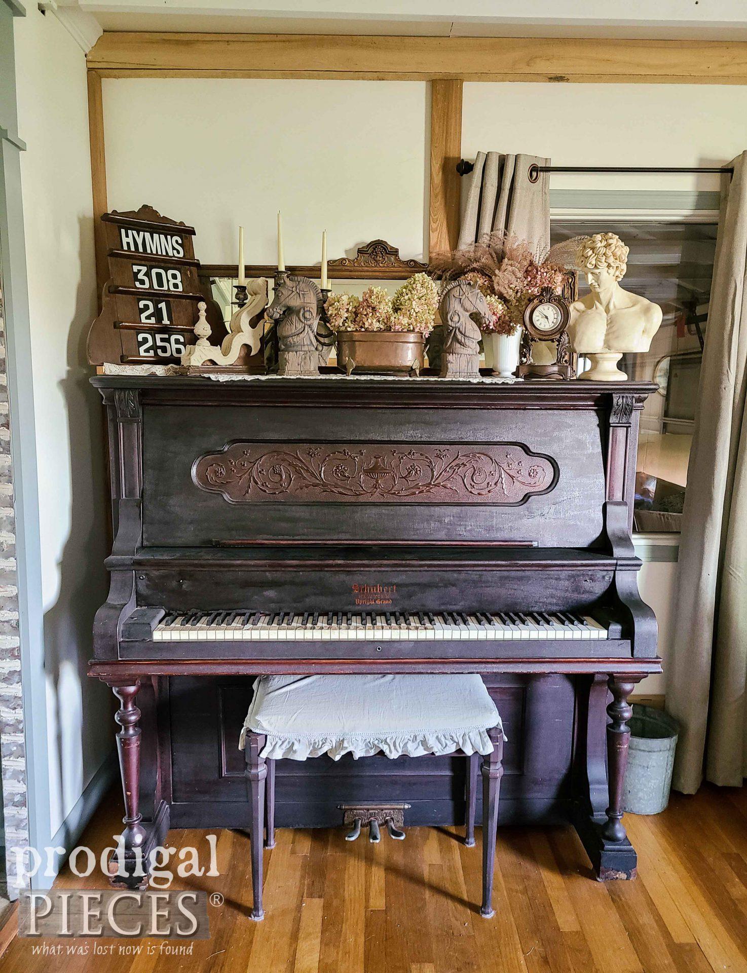 Antique Upright Grand Piano with Vintage Decor by Larissa of Prodigal Pieces | prodigalpieces.com #prodigalpieces #home