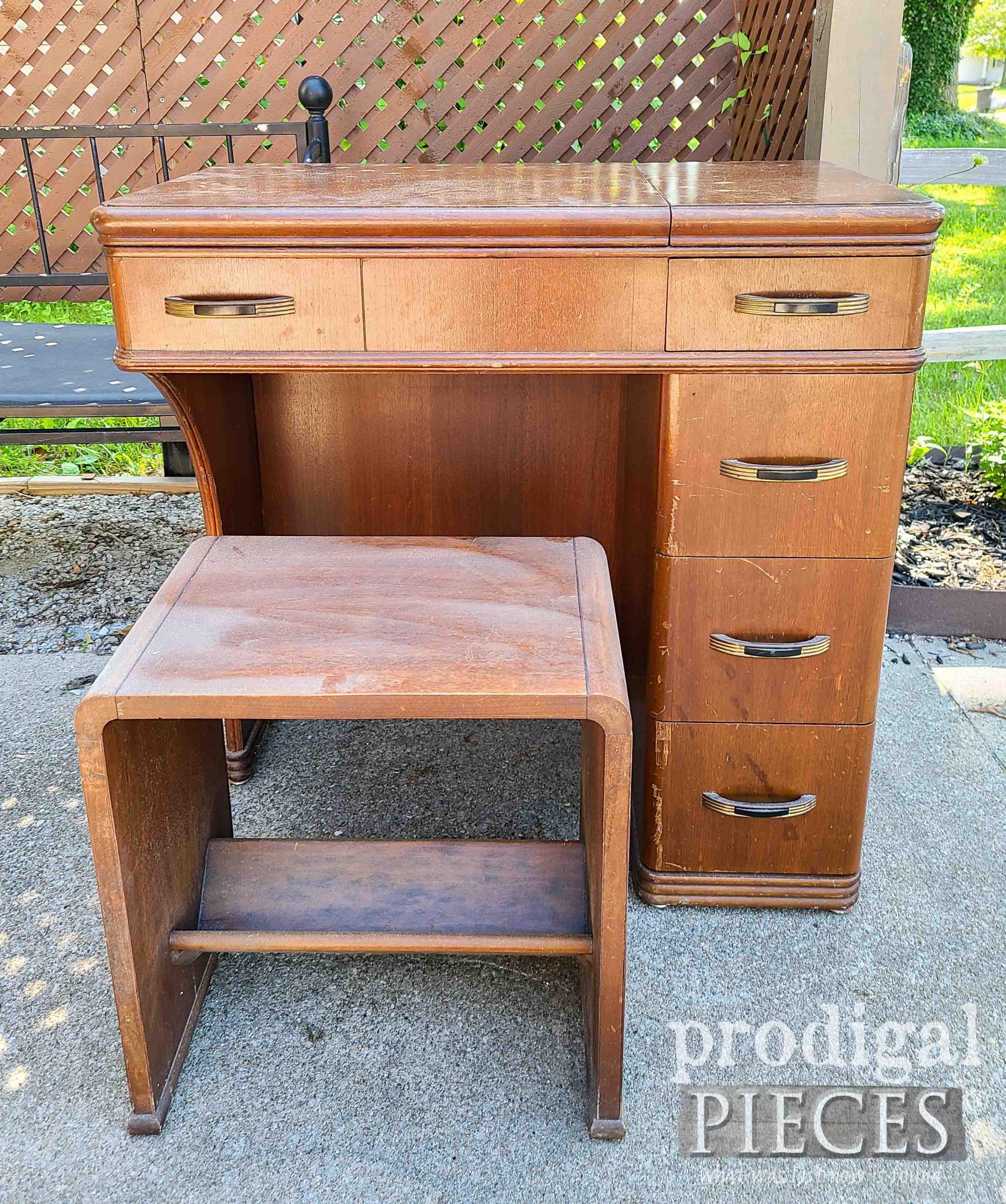 Art Deco Sewing Desk Before Makeover | prodigalpieces.com