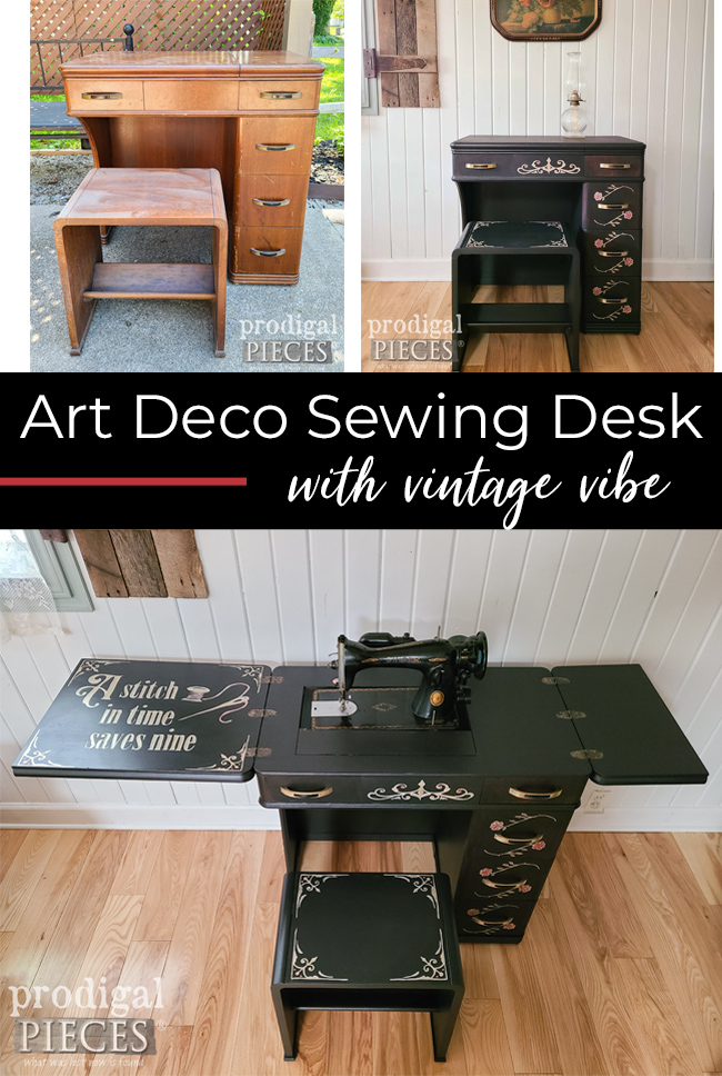 Art Deco Sewing Desk Gets New Life by Larissa of Prodigal Pieces | prodigalpieces.com #prodigalpieces #furniture #home #homedecor #diy #vintage