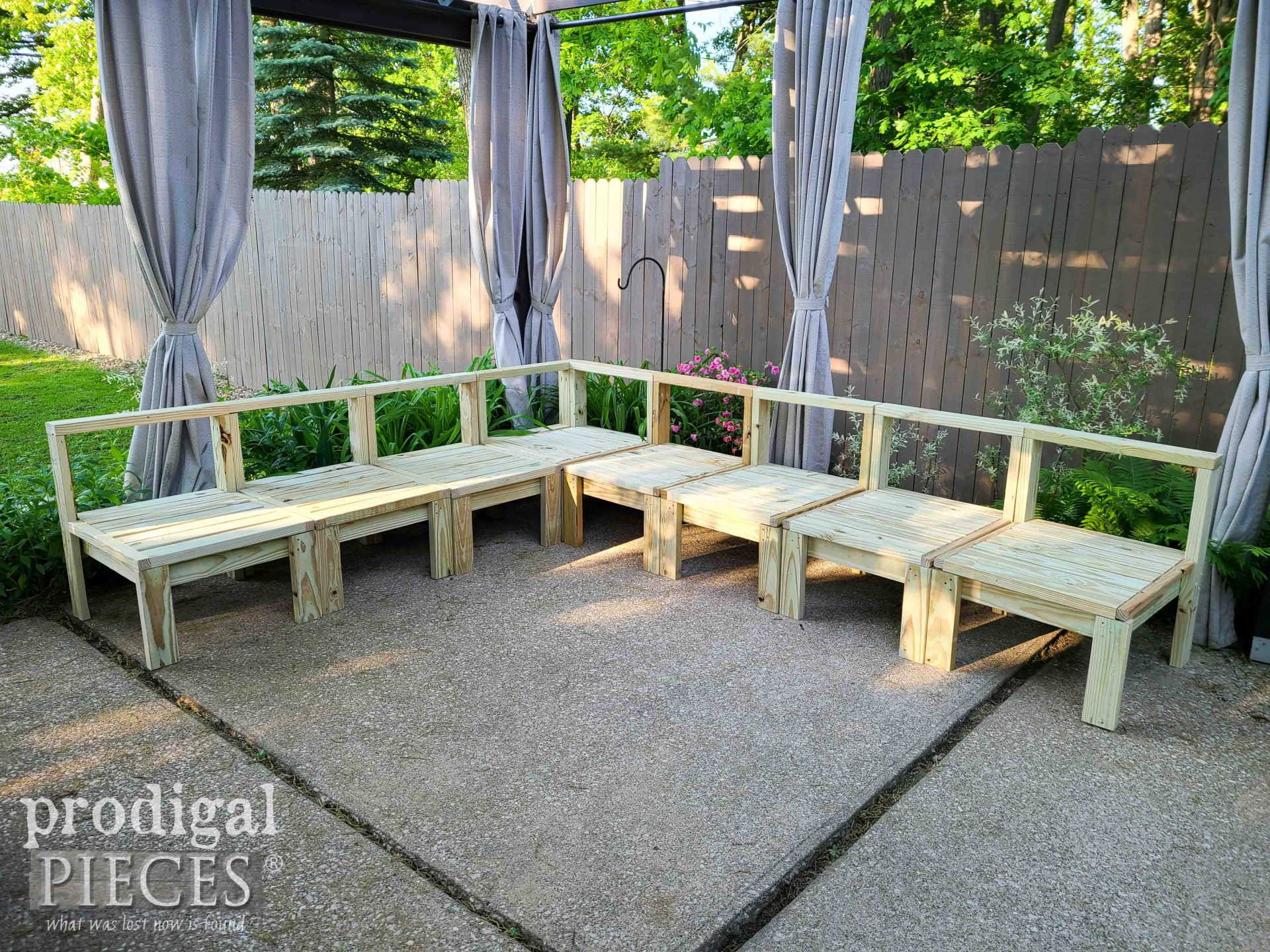 Assembled DIY Patio Sectional Sofa Before Stain | prodigalpieces.com #prodigalpieces #diy #patio #outdoor