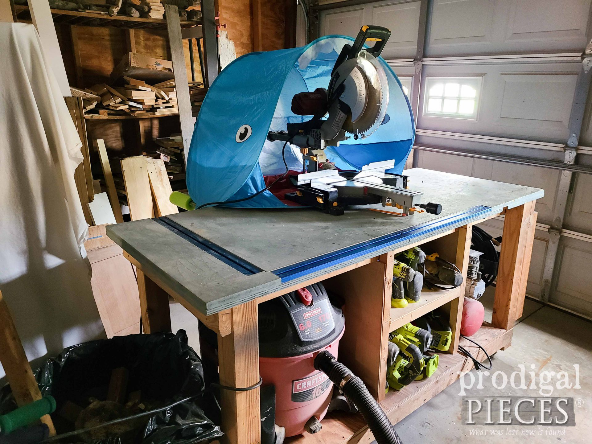 Baby Tent Used for DIY Miter Saw Hood Dust Collector by Larissa of Prodigal Pieces   prodigalpieces.com #prodigalpieces #woodworking #tools #diy #workshop