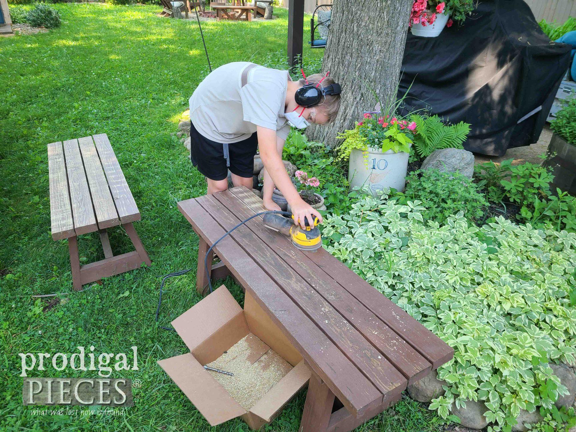 Boy Sanding Patio Bench | prodigalpieces.com