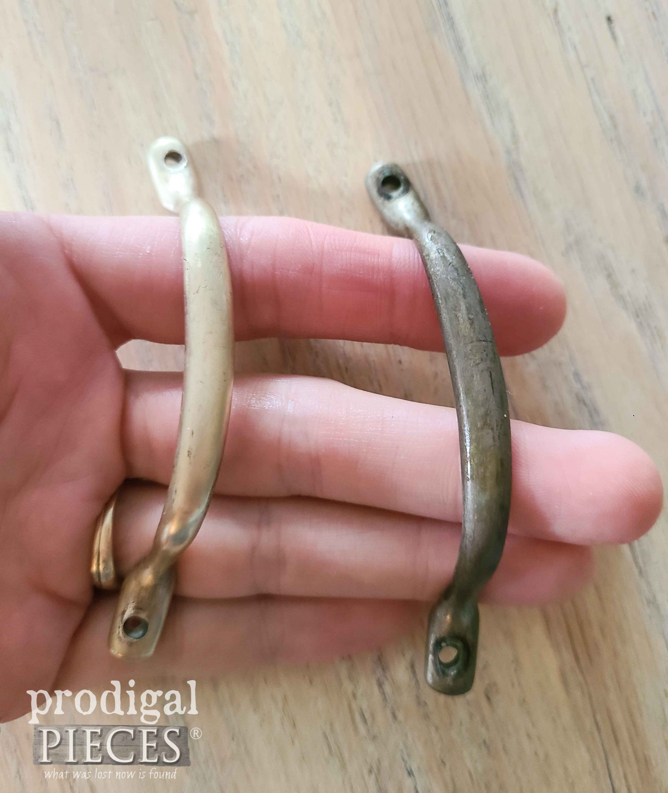 Brass Handles Polished with Bar Keepers Friend | prodigalpieces.com #prodigalpieces