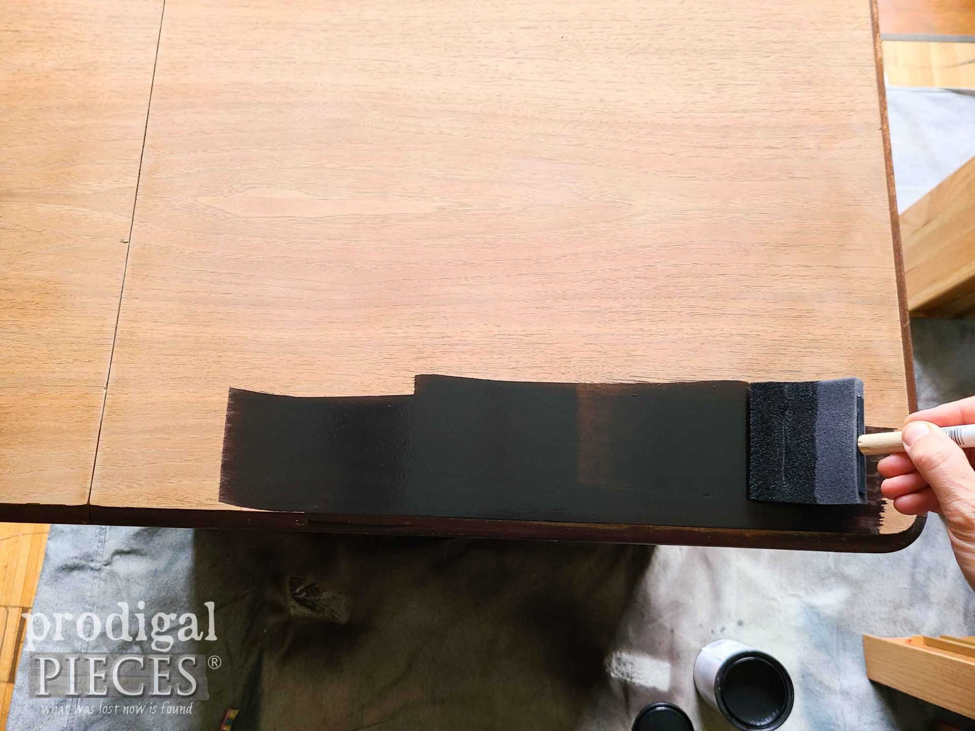 Using Charcoal Reactive Stain to Finish Art Deco Sewing Desk | prodigalpieces.com #prodigalpieces