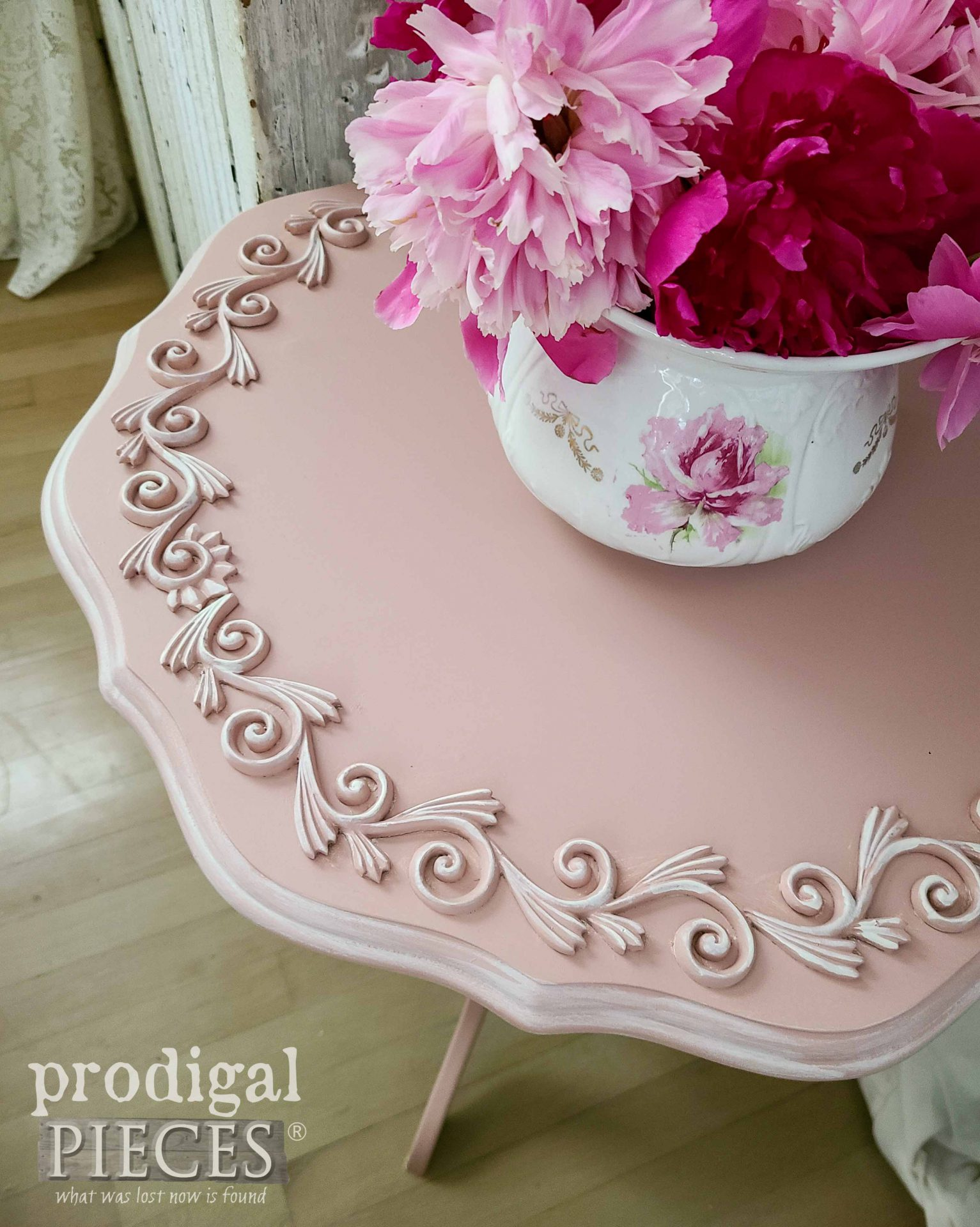 Closeup of Scrollwork on Tilt Top Table by Larissa of Prodigal Pieces | prodigalpieces.com #prodigalpieces #home #homedecor #diy #furniture