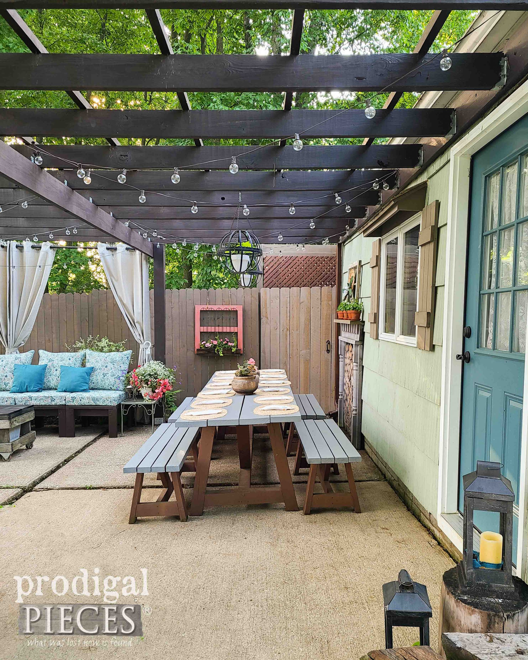 Outdoor Dining Patio Table View by Prodigal Pieces | shop.prodigalpieces.com #prodigalpieces #diy #patio #outdoor #backyard