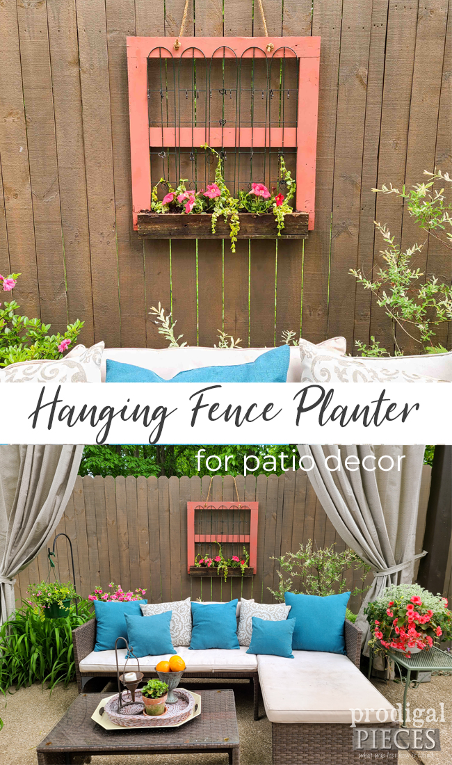 Build a hanging fence planter using reclaimed wood & materials to add texture and charm to your home decor | by Prodigal Pieces | prodigalpieces.com #prodigalpieces #garden #home #homedecor #patio