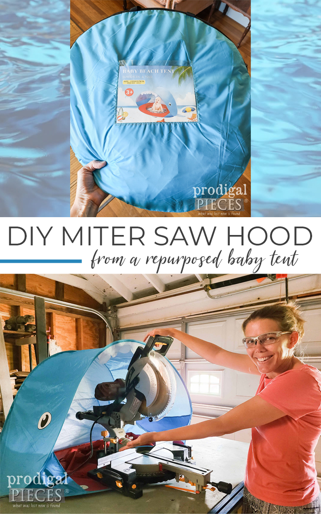 Make your own affordable and easy to install DIY Miter Saw Hood Dust Collector   Head to prodigalpieces.com #prodigalpieces #diy #woodworking #tools