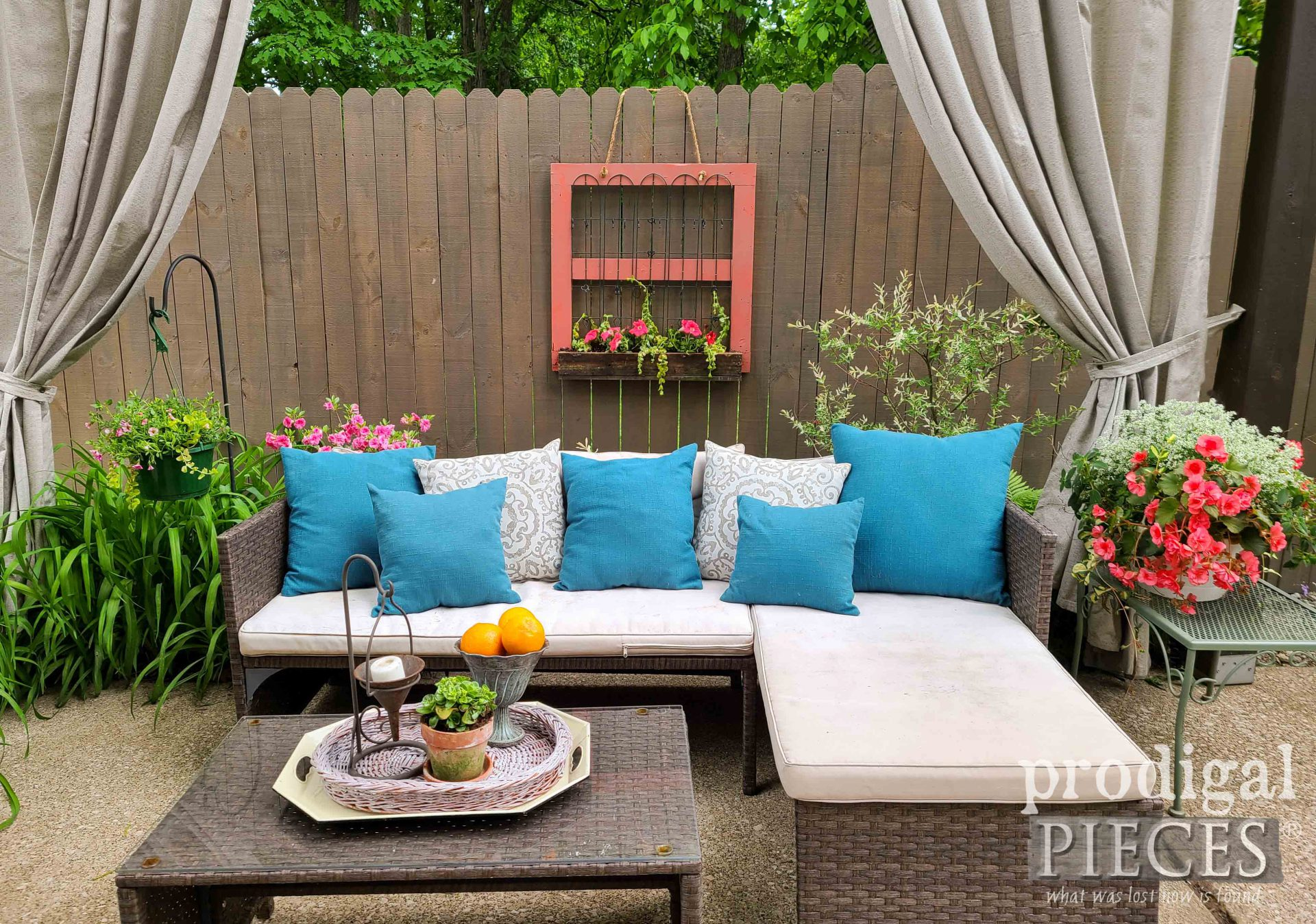 DIY Patio Decor Using Reclaimed Wood for Hanging Fence Planter by Larissa of Prodigal Pieces | prodigalpieces.com #prodigalpieces #diy #home #patio #farmhouse #garden