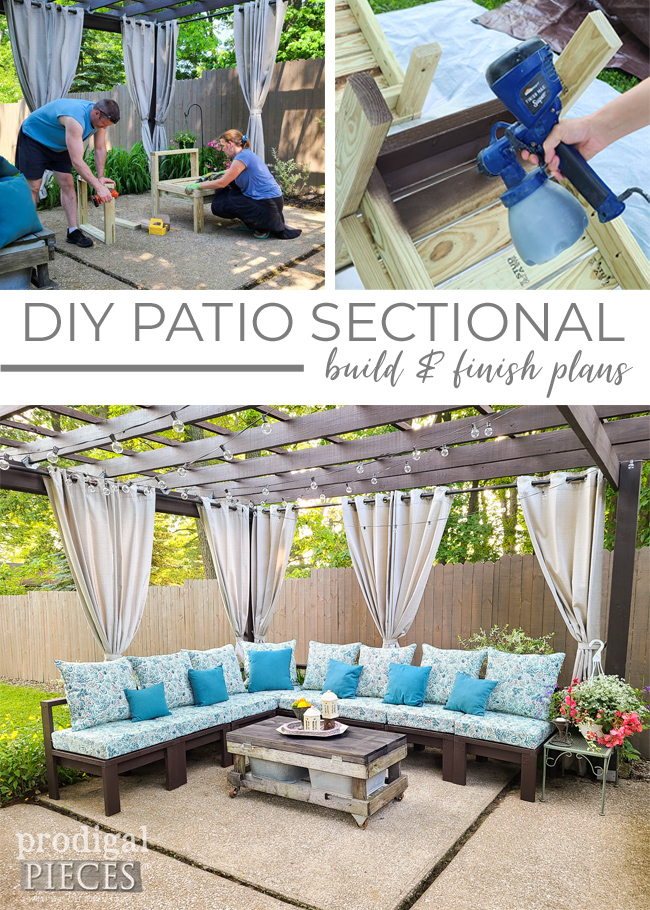 Build a DIY patio sectional to suit your own outdoor needs. You can customize it to seat as many as you like. Details at Prodigal Pieces | prodigalpieces.com #prodigalpieces #diy #home #homedecor #outdoor #patio