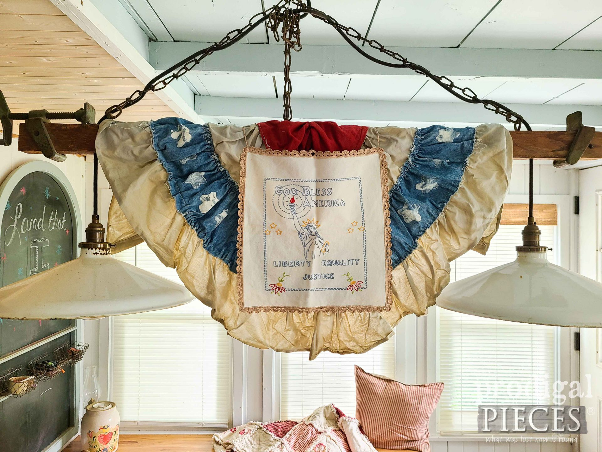 Embroidered Patriotic Decor by Larissa of Prodigal Pieces | prodigalpieces.com #prodigalpieces #farmhouse #patriotic #godblessusa #4thofjuly