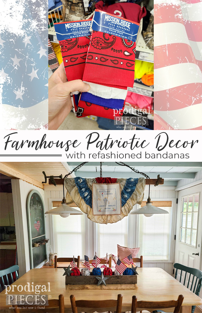 Create your own farmhouse patriotic decor using repurposed bandanas | See the DIY by Larissa of Prodigal Pieces at prodigalpieces.com #prodigalpieces #4thofjuly #diy #home #independenceday #farmhouse