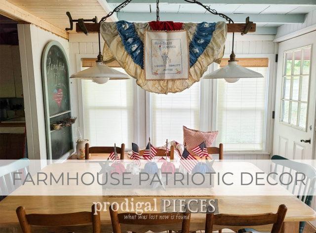 DIY Farmhouse Patriotic Decor from Refashioned Bandanas | prodigalpieces.com #prodigalpieces