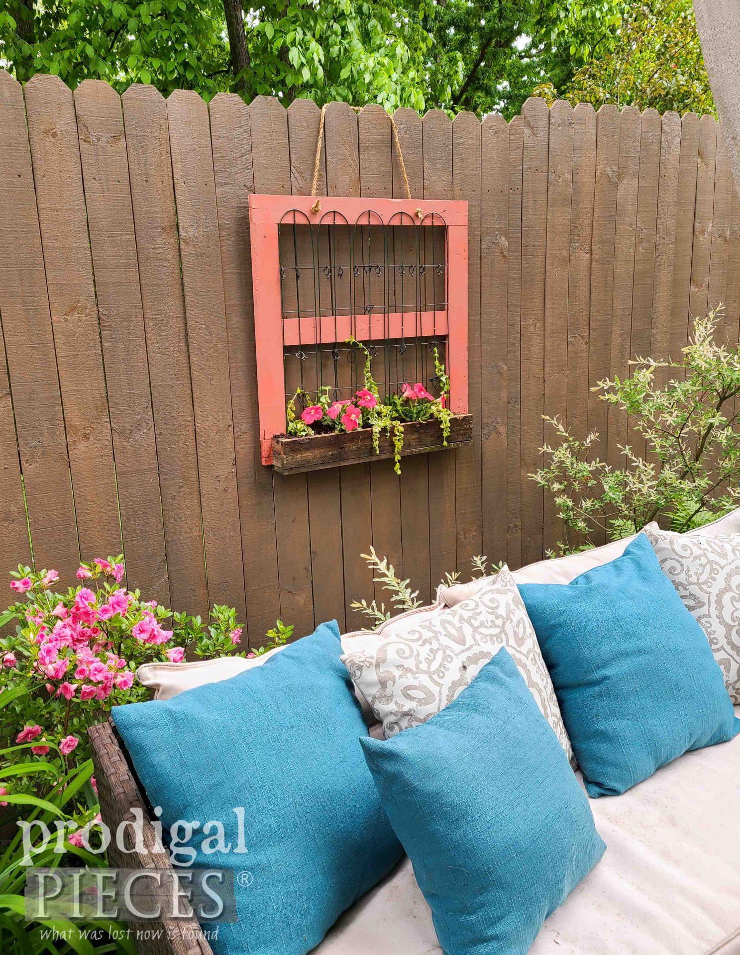 Farmhouse Style Patio Decor with Hanging Fence Planter by Prodigal Pieces | prodigalpieces.com #prodigalpieces #garden #flowers #diy #patio