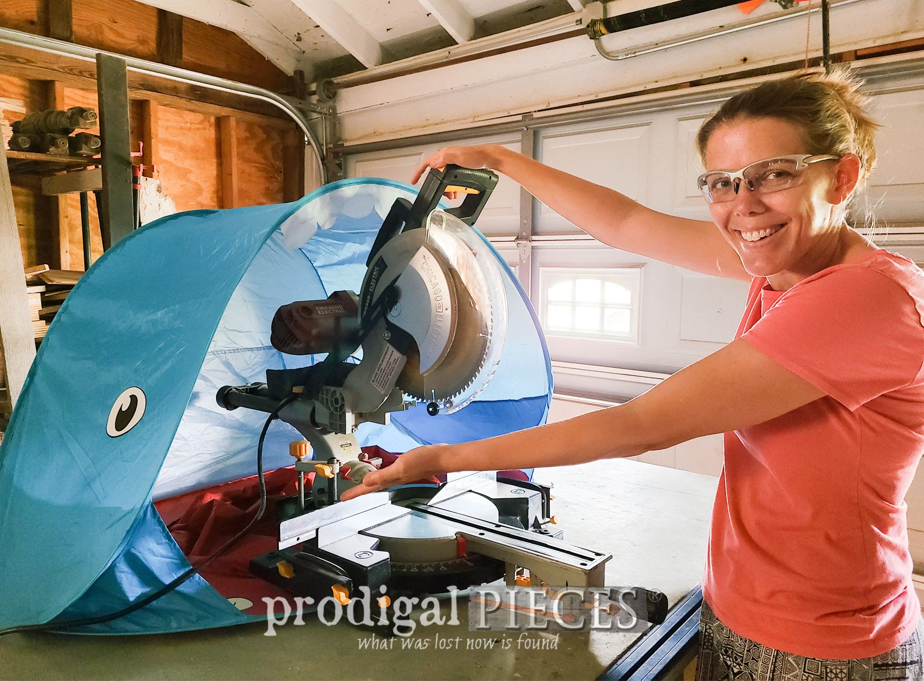 Make your own DIY miter saw hood to collect dust using a baby sun tent | Details at Prodigal Pieces | prodigalpieces.com #prodigalpieces #diy #woodworking #upcycled #tools #toolsoverjewels