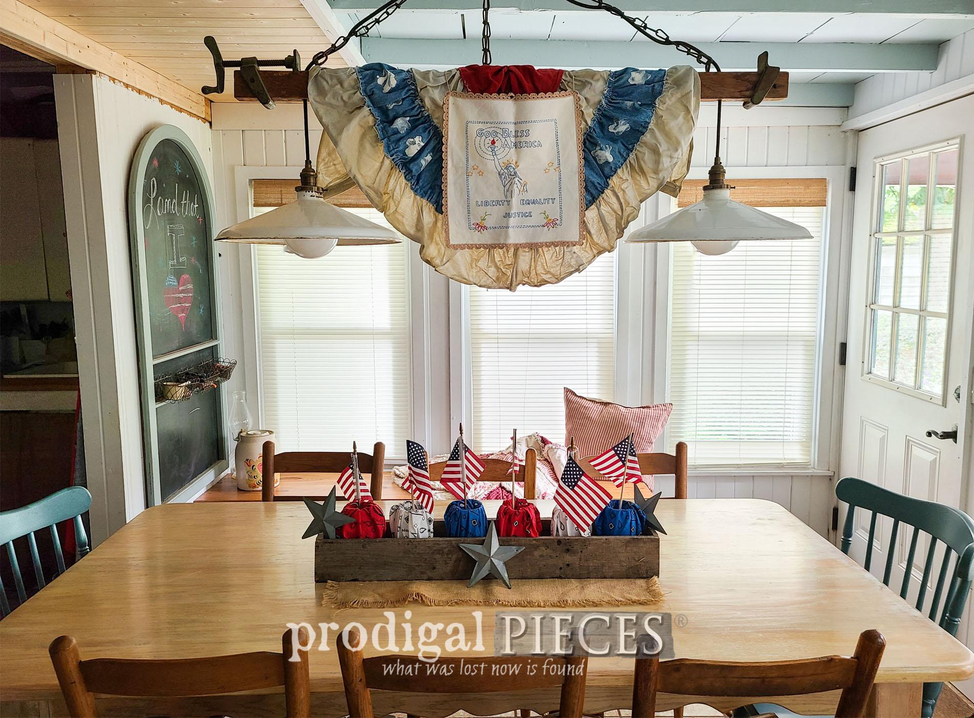 Featured Farmhouse Patriotic Decor Using Refashioned Bandanas | prodigalpieces.com #prodigalpieces #farmhouse #4thofjuly #independenceday #home #refashion