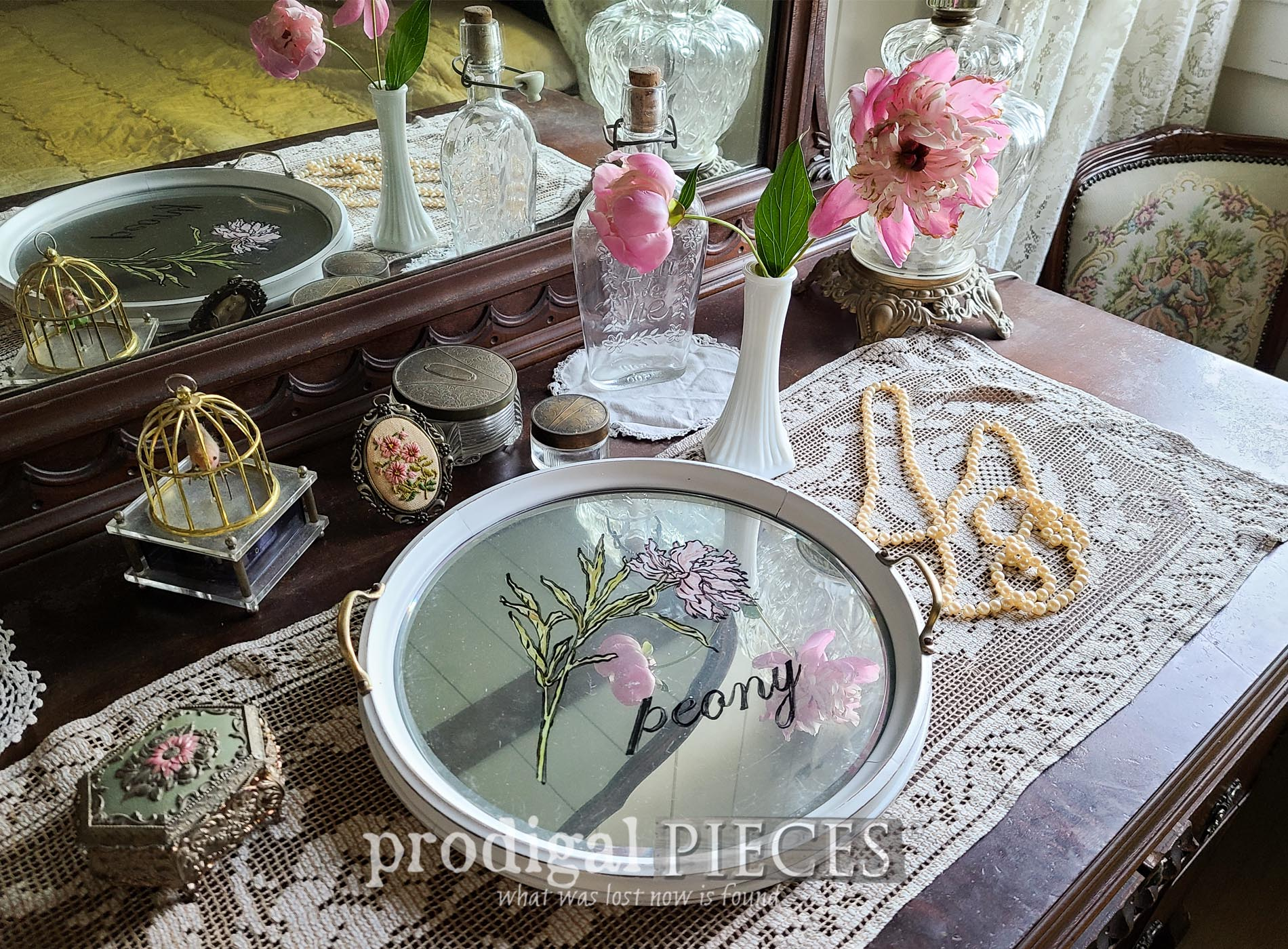 Featured Round Glass Serving Tray Makeover by Larissa of Prodigal Pieces | prodigalpieces.com #prodigalpieces #diy #home #homedecor #vintage
