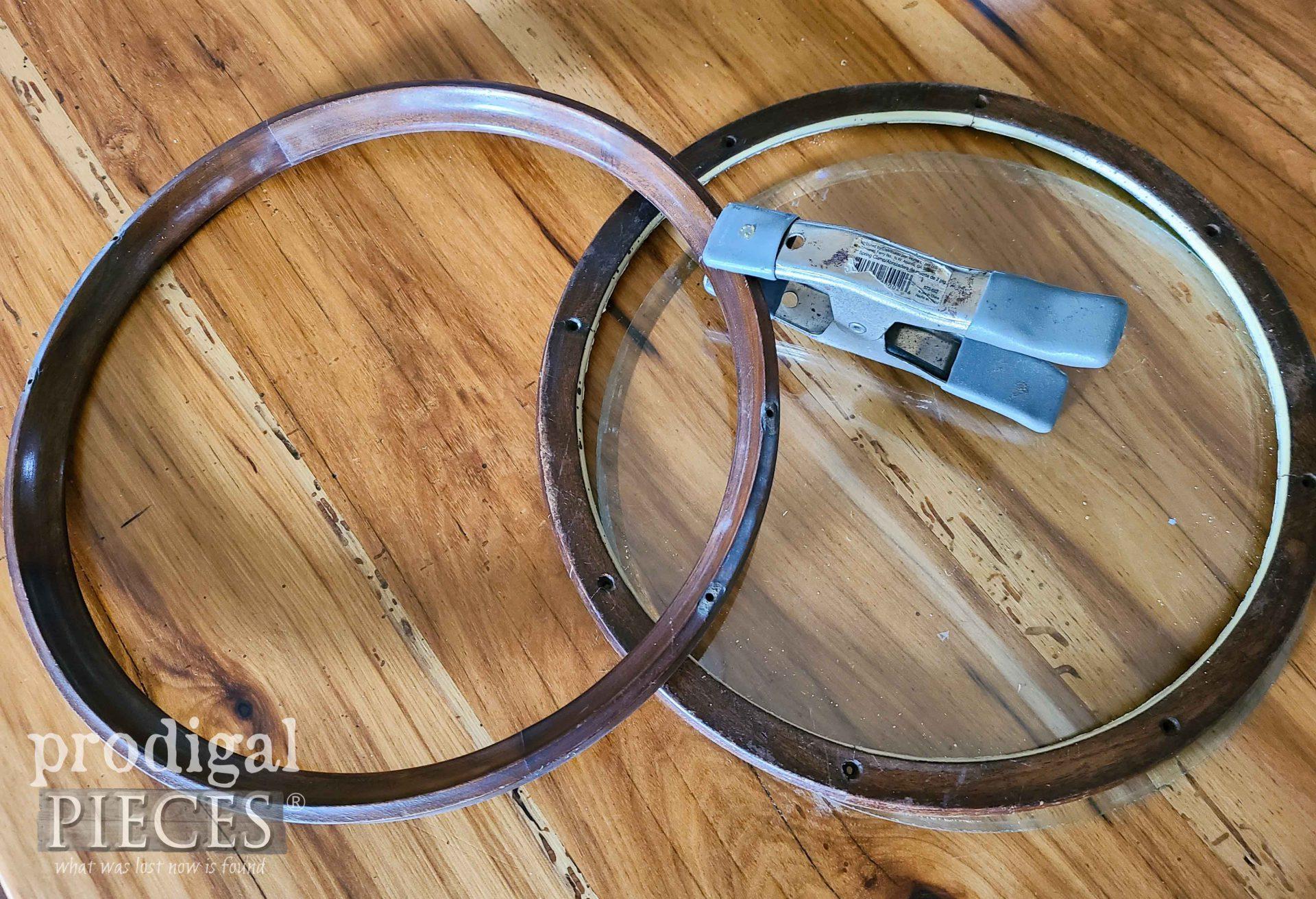 Gluing Round Glass Serving Tray Frame | prodigalpieces.com