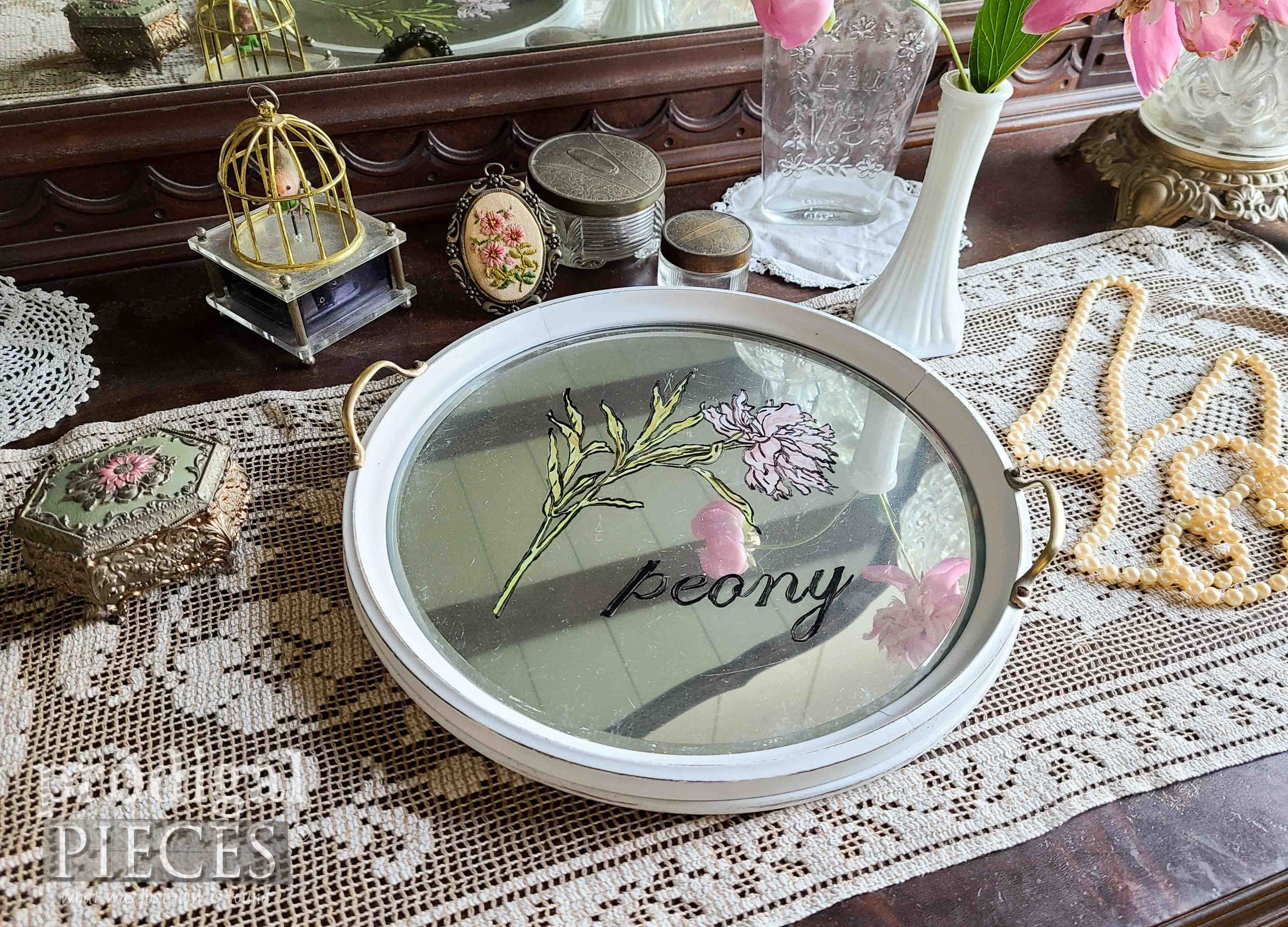 Shabby Chic Hand-Painted Peony Round Glass Serving Tray by Larissa of Prodigal Pieces | prodigalpieces.com #prodigalpieces #peony #tray #home