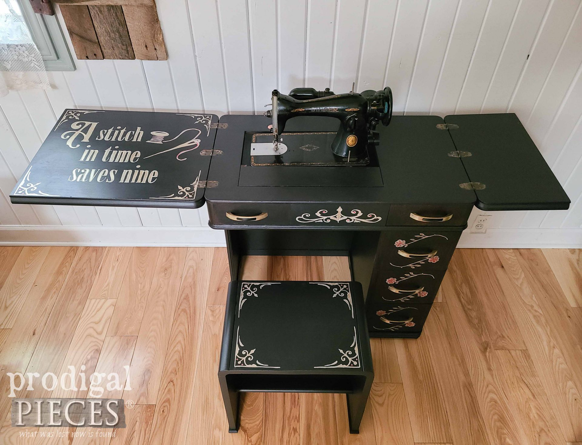 Hand-Painted Art Deco Sewing Desk with Design by Larissa of Prodigal Pieces | prodigalpieces.com #prodigalpieces #diy #home #homedecor #sewing