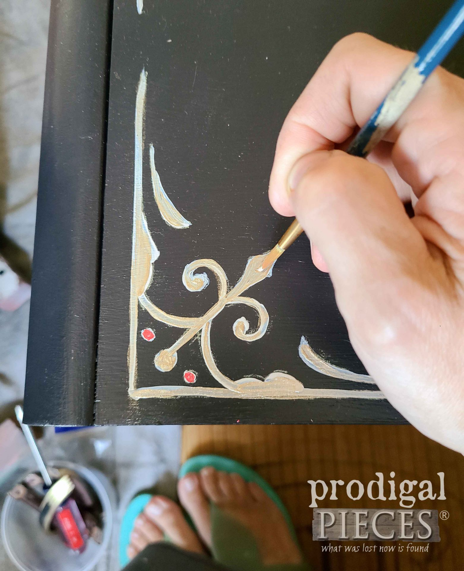 Hand-Painting Details on Antique Sewing Desk Makeover by Prodigal Pieces | prodigalpieces.com