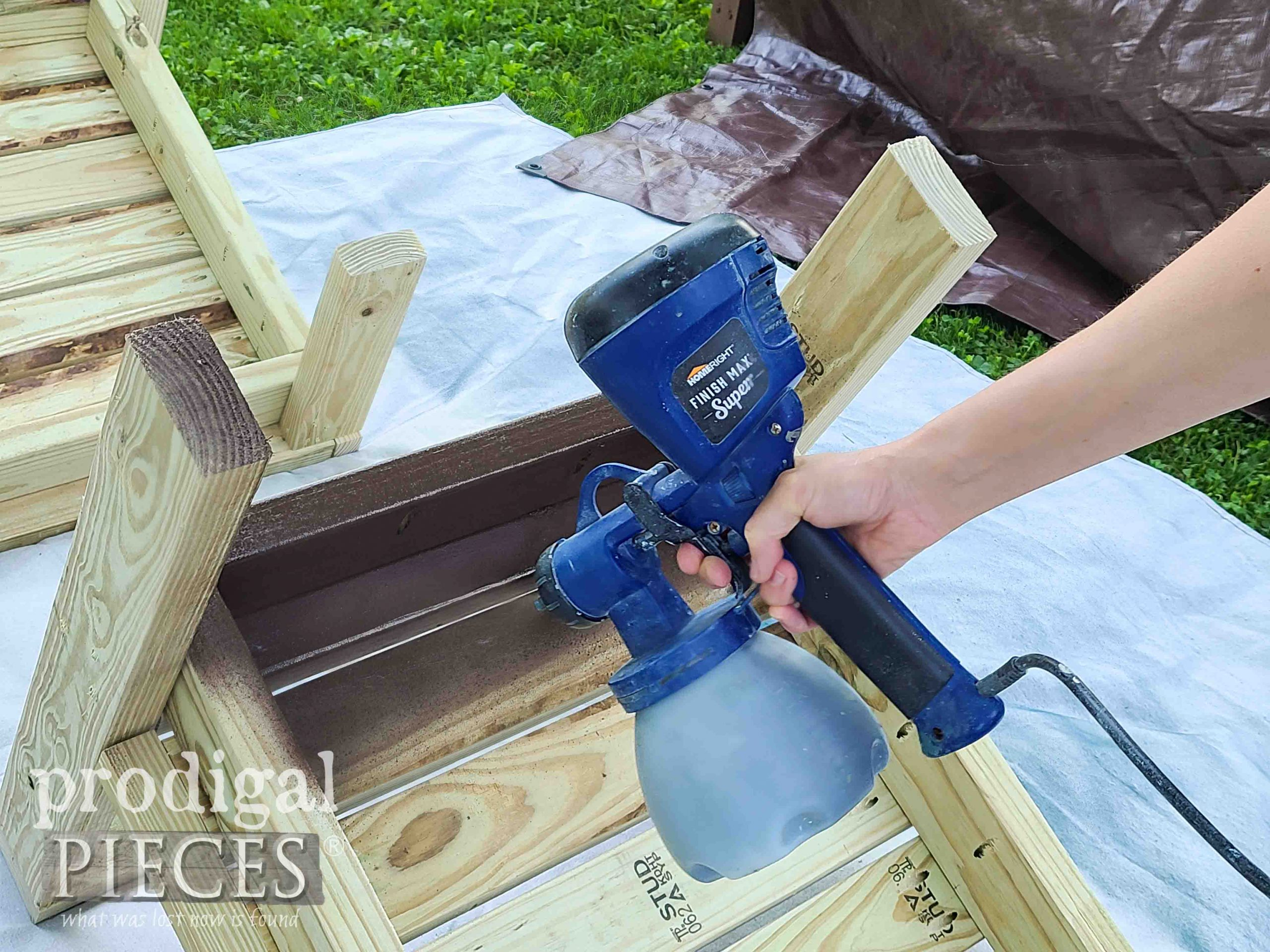 HomeRight Super Finish Max Sprayer for Staining DIY Patio Sectional by Prodigal Pieces | prodigalpieces.com #prodigalpieces #diy #home