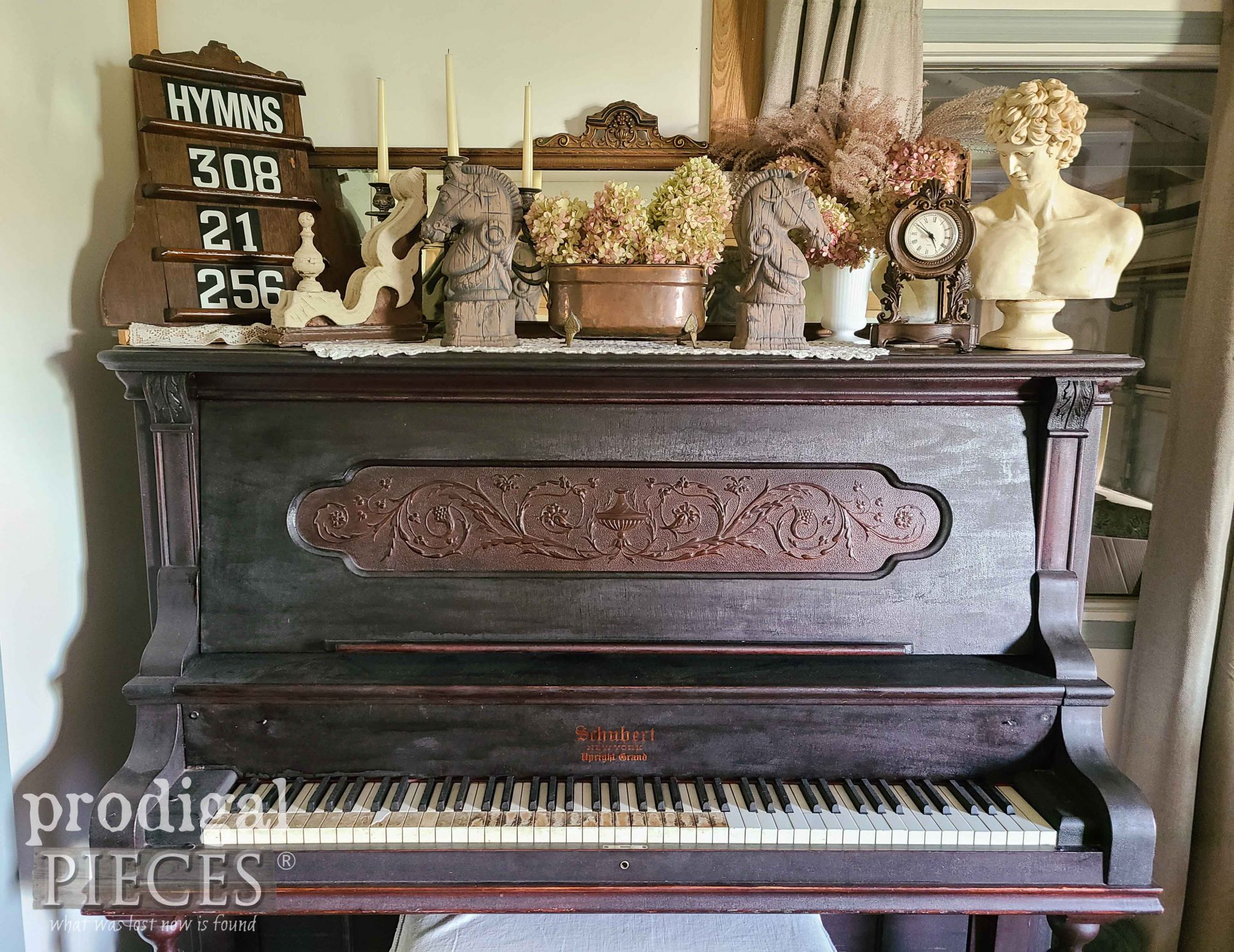 Vintage Horse Head Bookends on Antique Upright Grand Piano by Larissa of Prodigal Pieces | prodigalpieces.com #prodigalpieces #antique #home #farmhouse