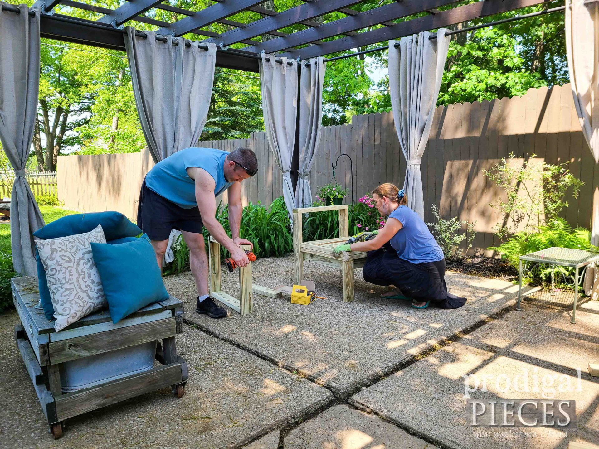 Husband Wife Building DIY Patio Sectional Sofa | prodigalpieces.com
