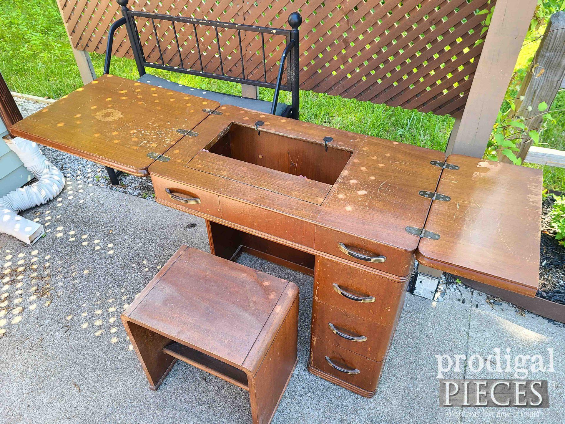 Inside Art Deco Sewing Desk | prodigalpieces.com