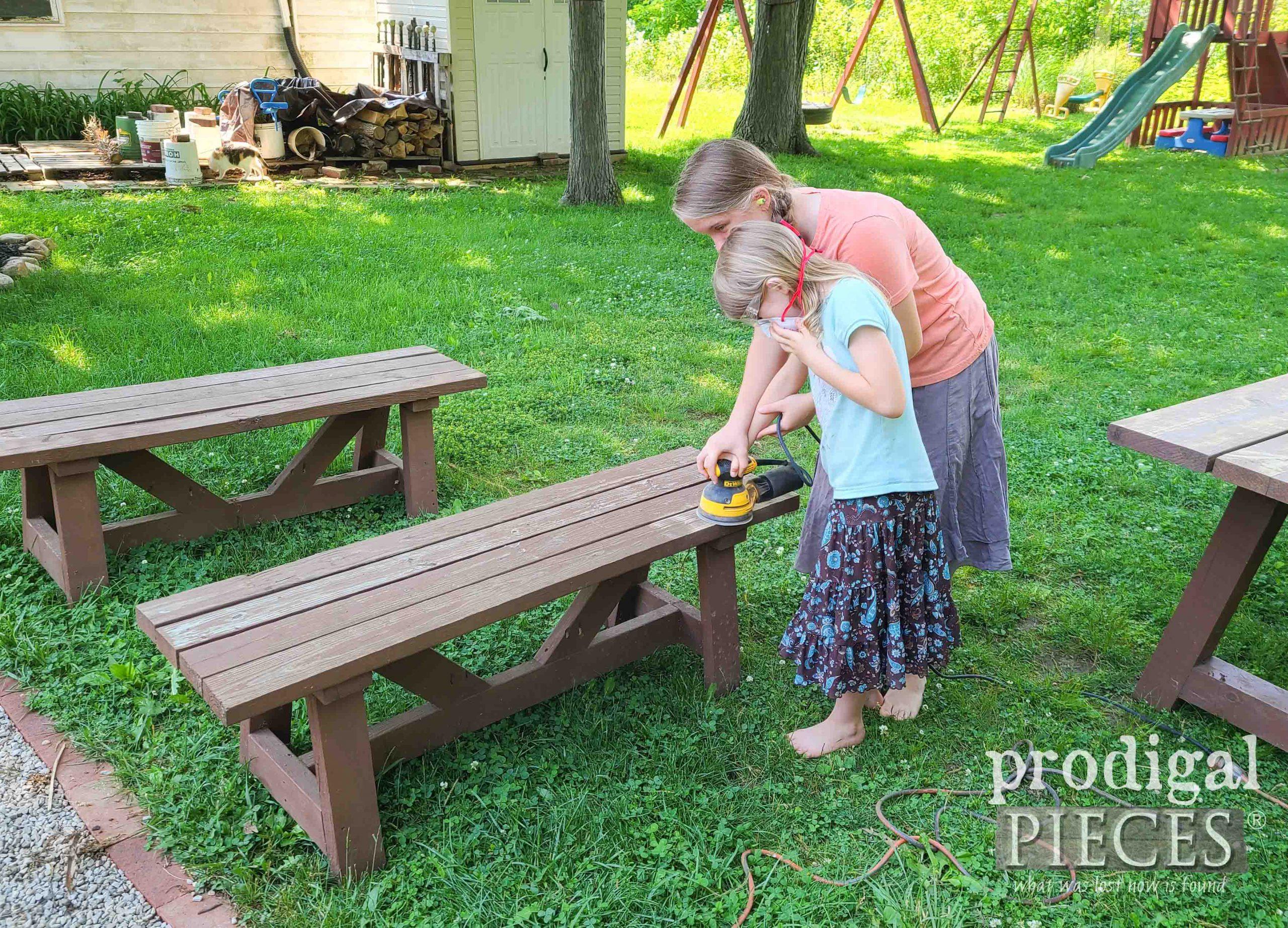 Kids Sanding Patio Bench Top | prodigalpieces.com
