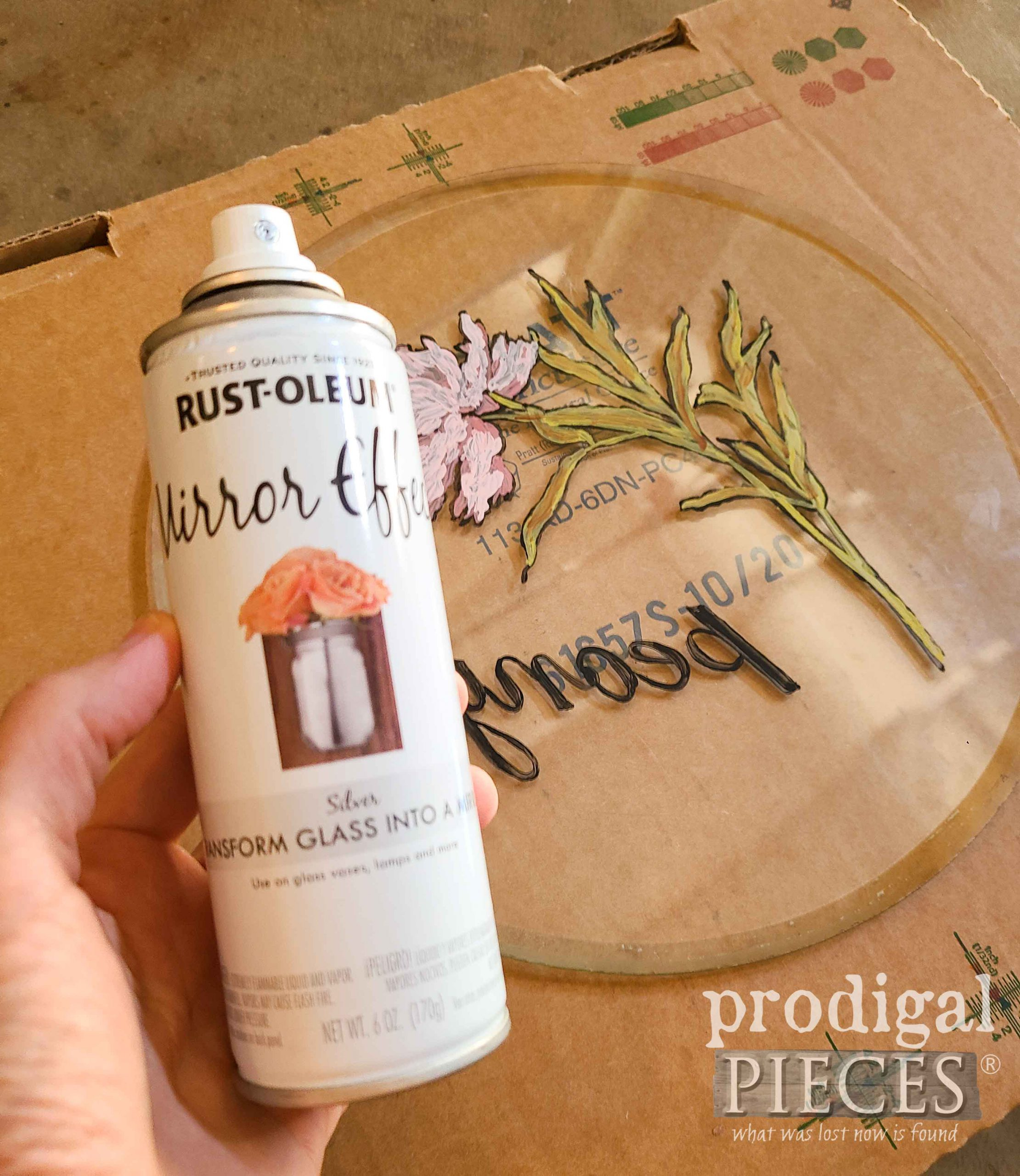 Mirror Effects Spray Paint for Round Glass Serving Tray | prodigalpieces.com