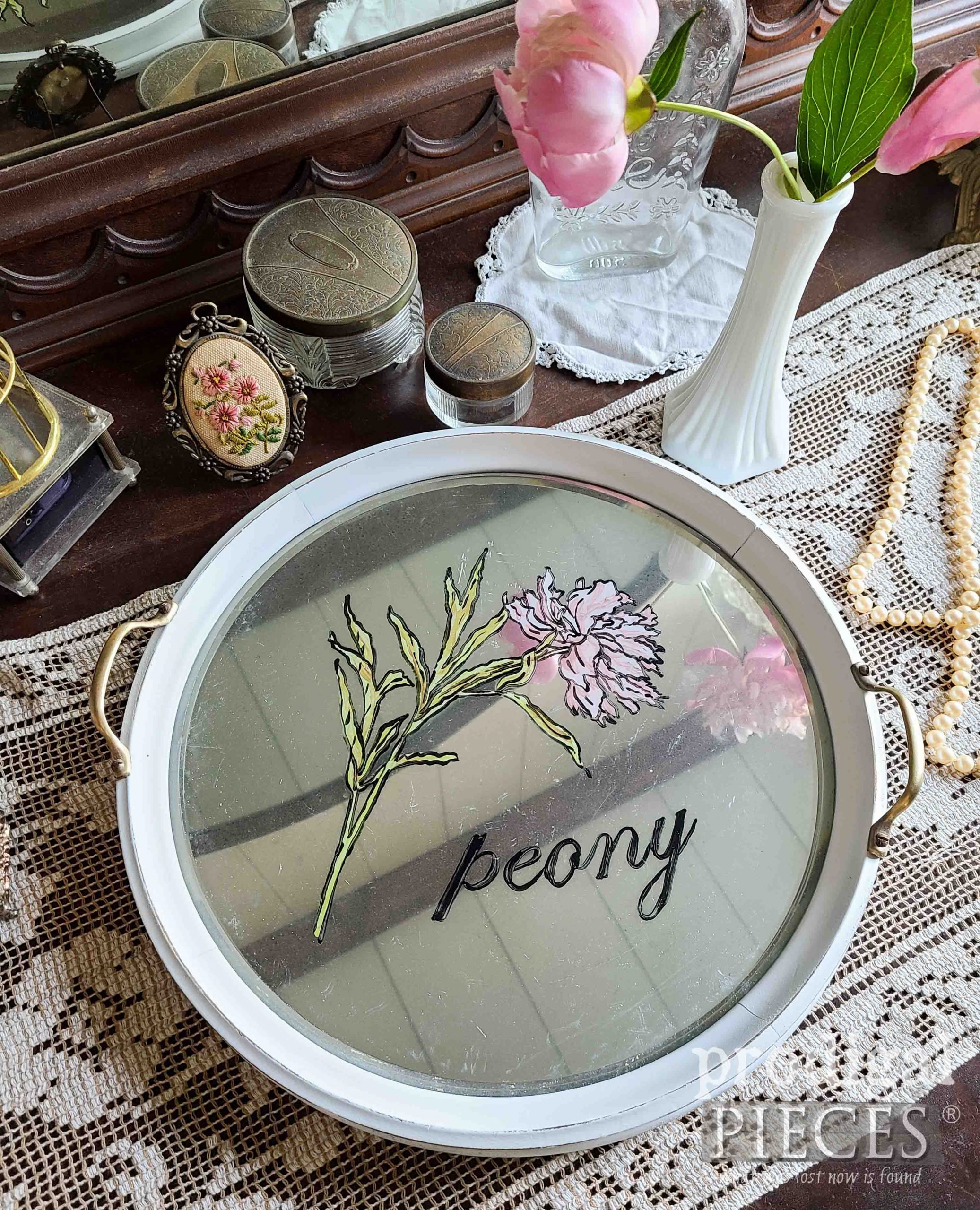 DIY Mirrored Round Glass Serving Tray by Larissa of Prodigal Pieces | prodigalpieces.com #prodigalpieces #vintage #home #homedecor #peony