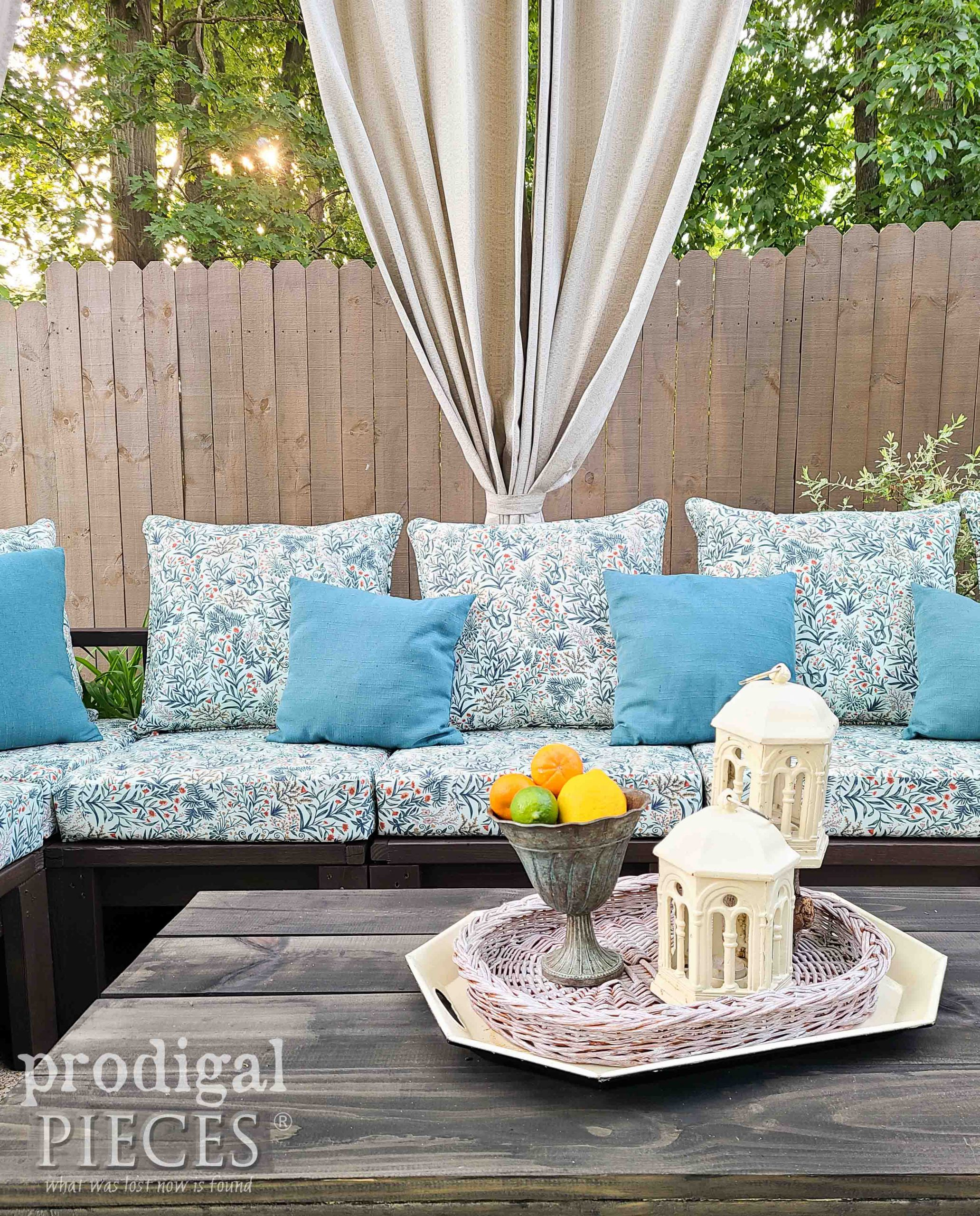 Outdoor Patio Cushions on DIY Sectional Sofa by Larissa of Prodigal Pieces | prodigalpieces.com #prodigalpieces #diy #home #patio