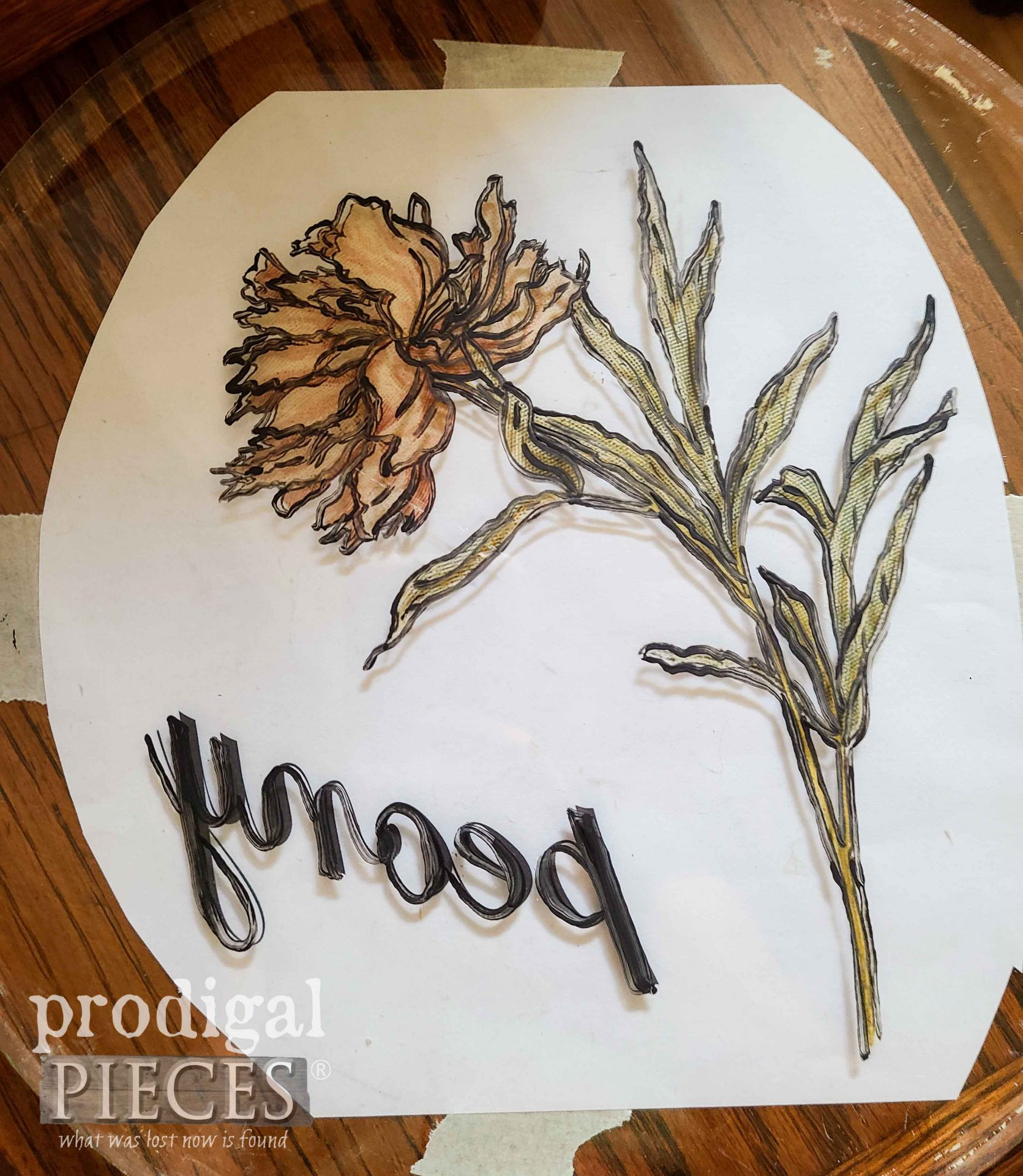 Painting Peony in Revers on Round Glass Serving Tray | prodigalpieces.com