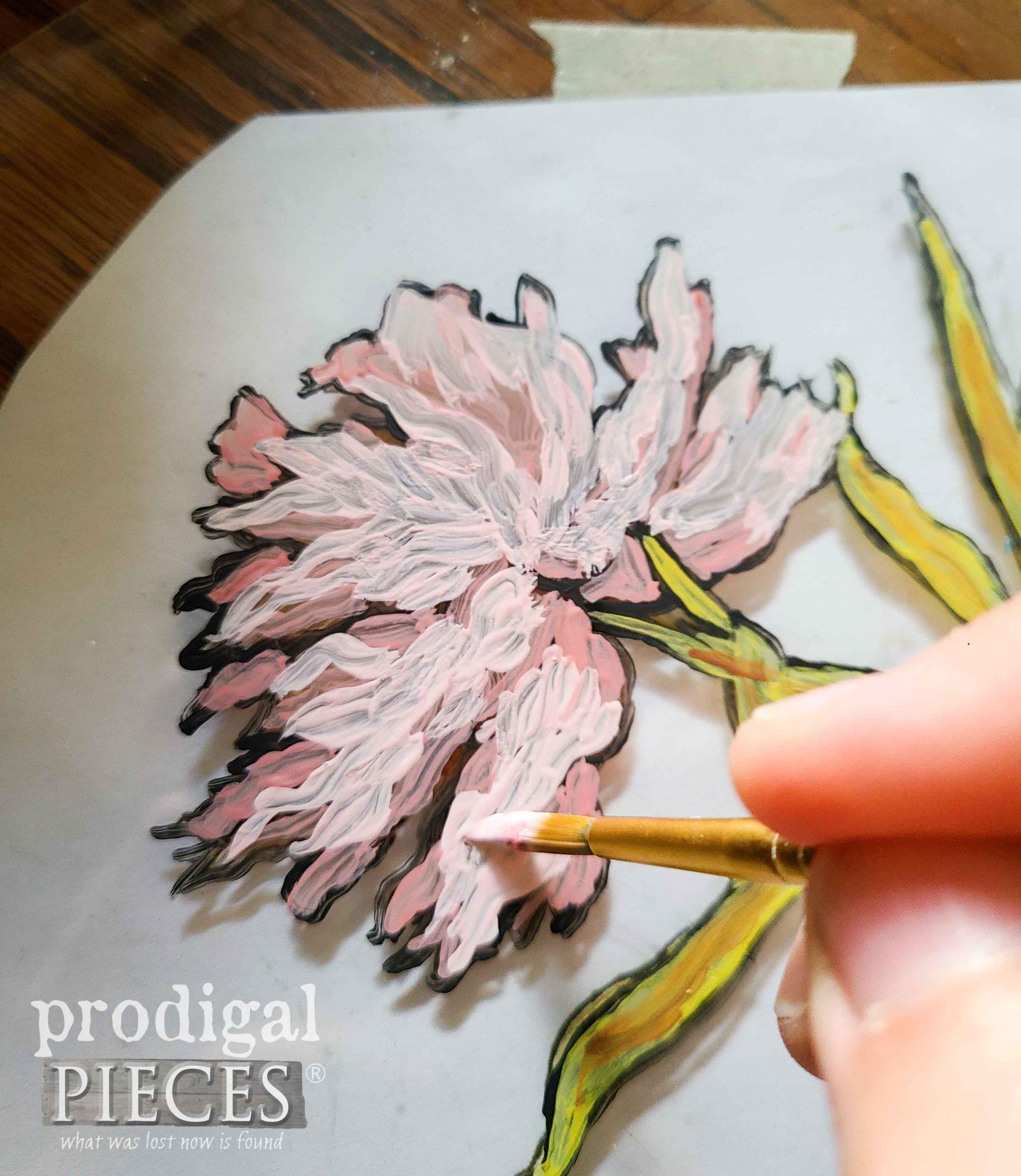 Painting Peony Flower on Glass | prodigalpieces.com #prodigalpieces