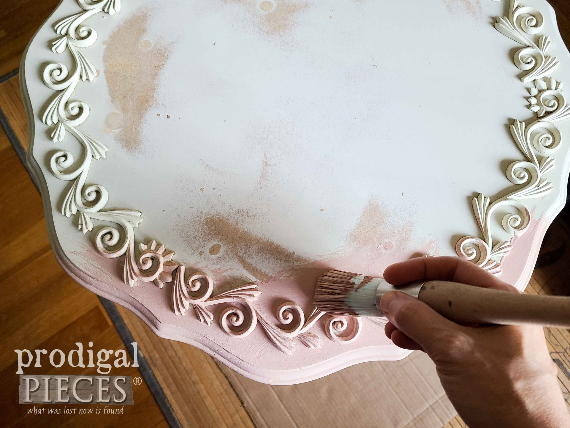 Painting Tilt Top Table Pink | prodigalpieces.com